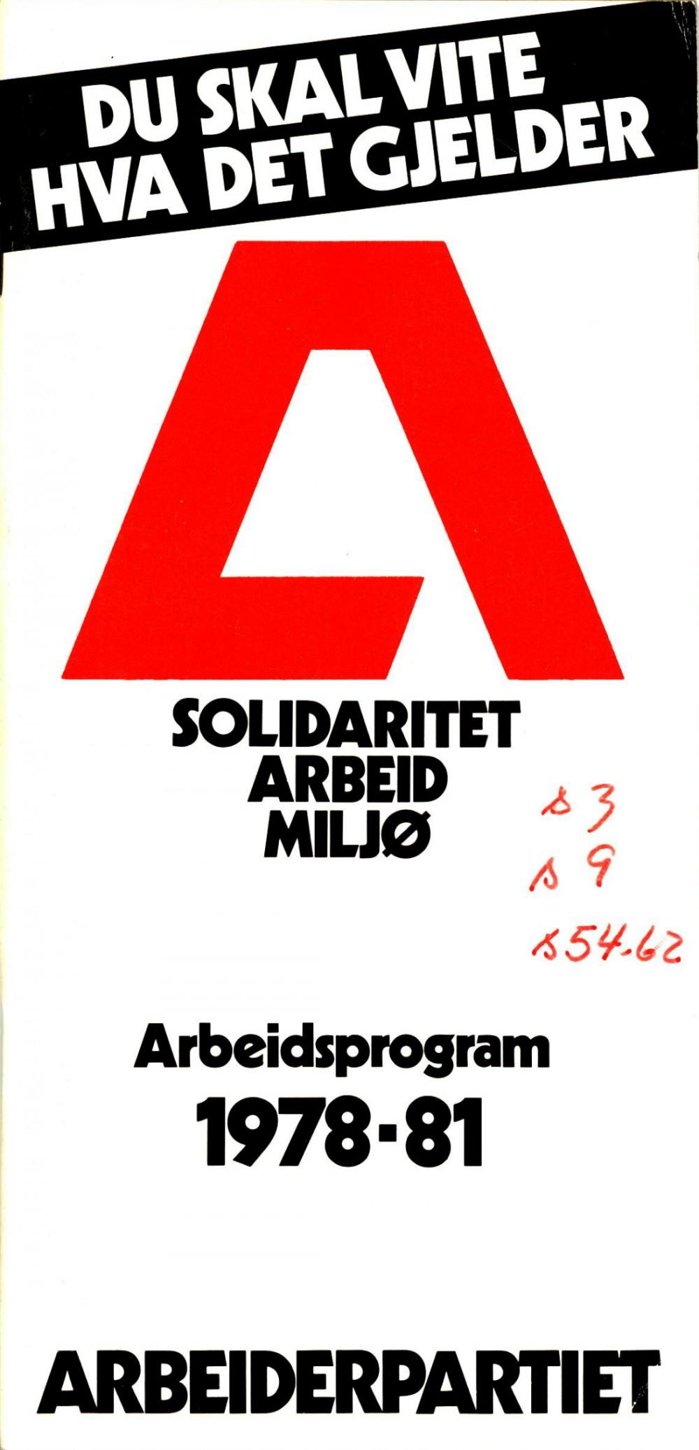 Du skal vite hva det gjelder - Arbeiderpartiets arbeidsprogram 1978-81