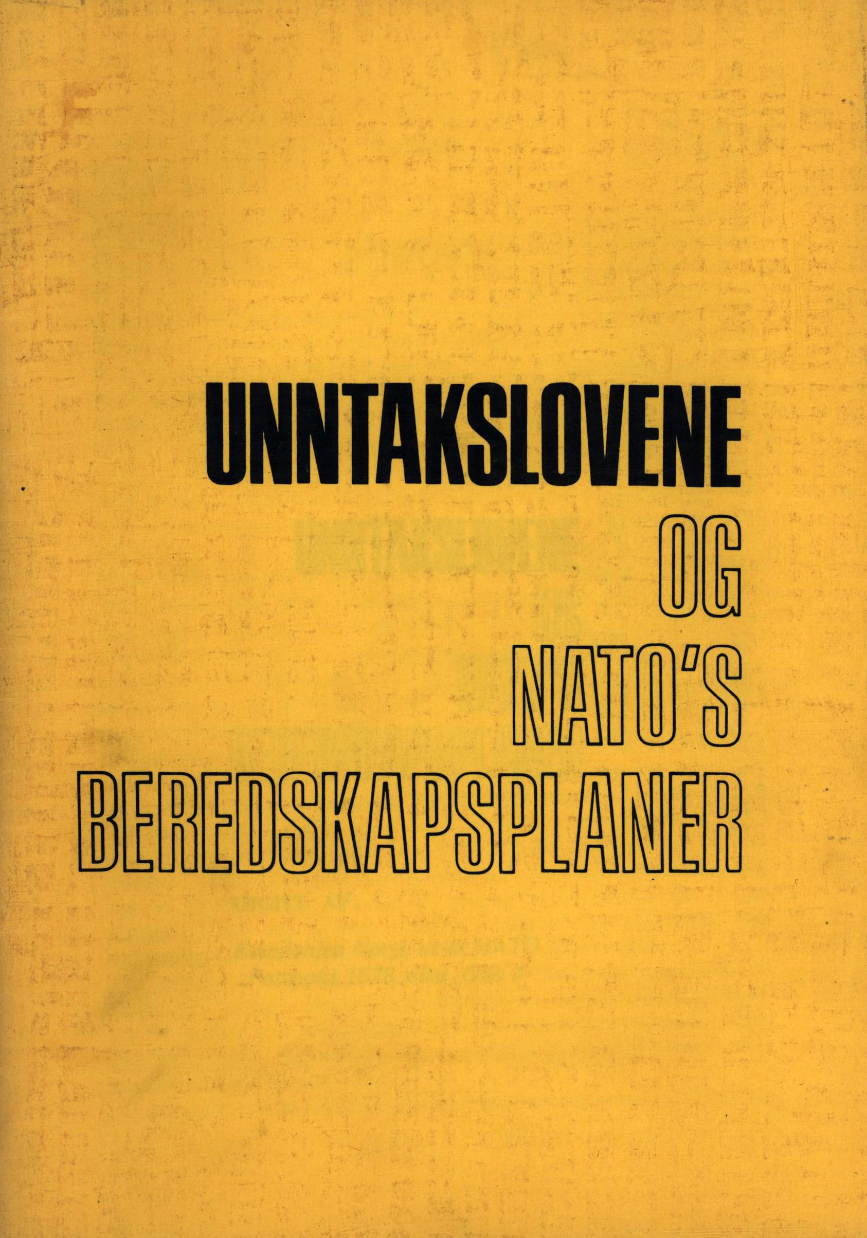 Unntakslovene og NATOs beredskapsplaner