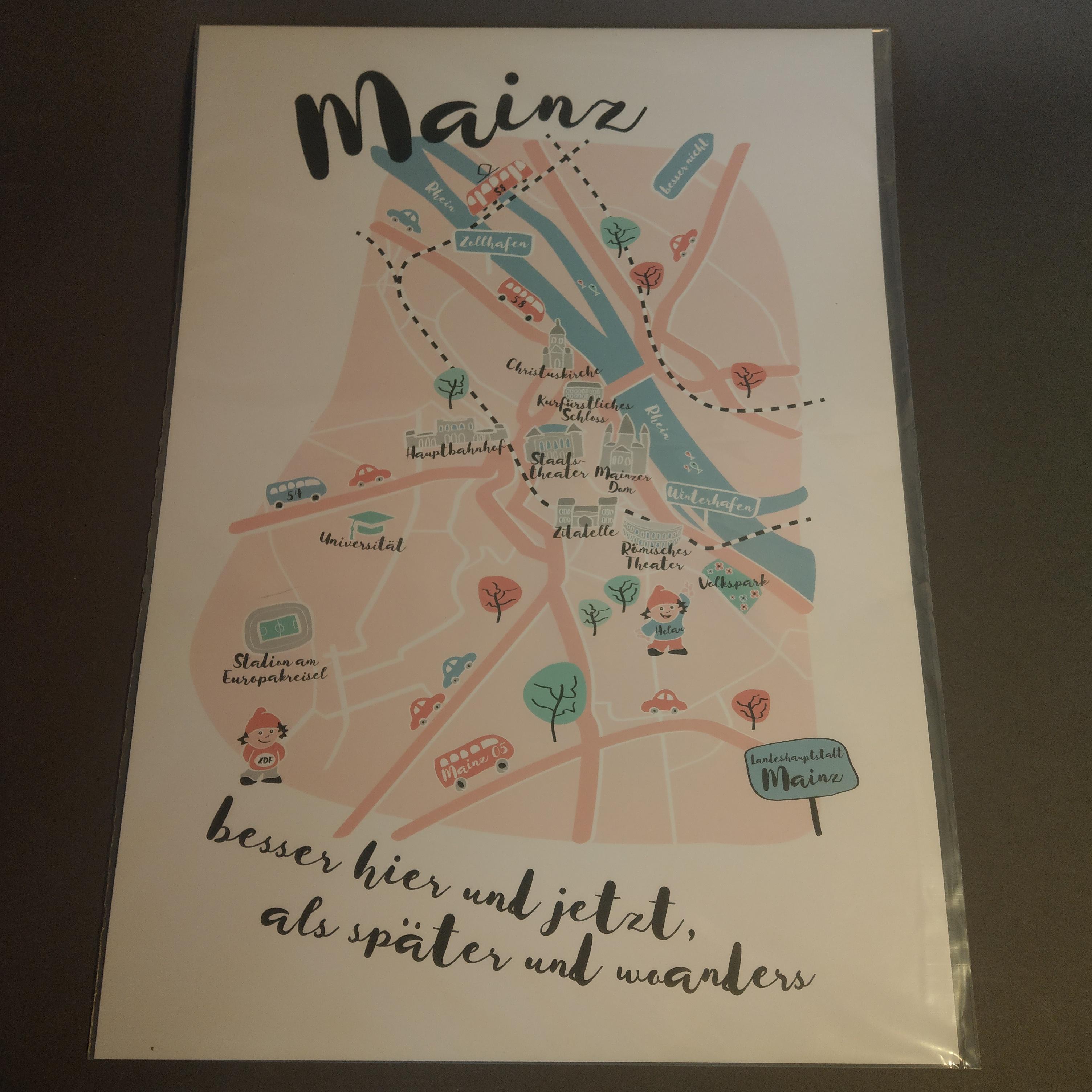 Mainz-Stadtplan von Kira Ermshaus