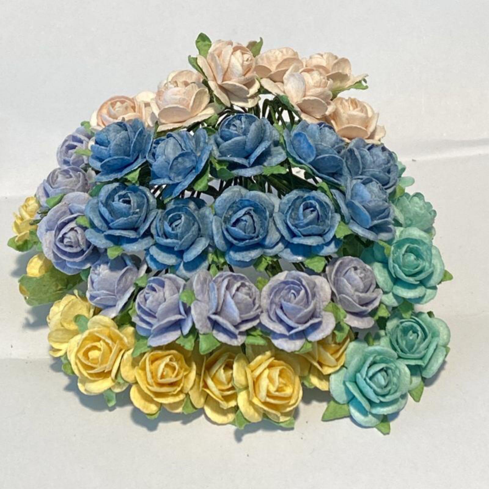 Papirdesign blomster, roser, sommermix , 1,2cm, 50 stk pr pk.