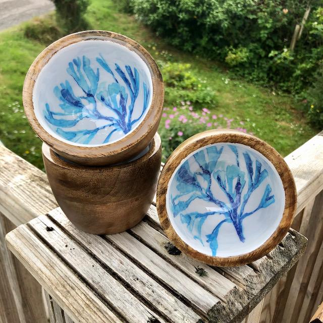 Bowl: 10cm Wooden Nibbles Bowl Seaweed Design