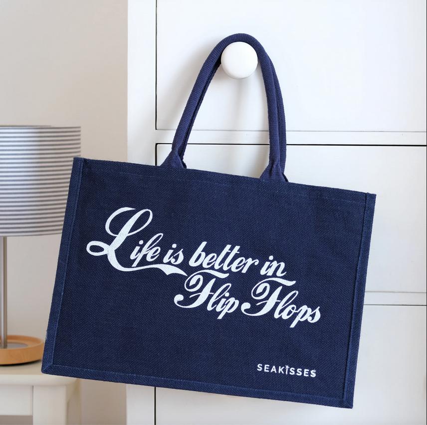 Sea Kisses Life is Better in Flip Flops Jute Shoulder Bag Navy