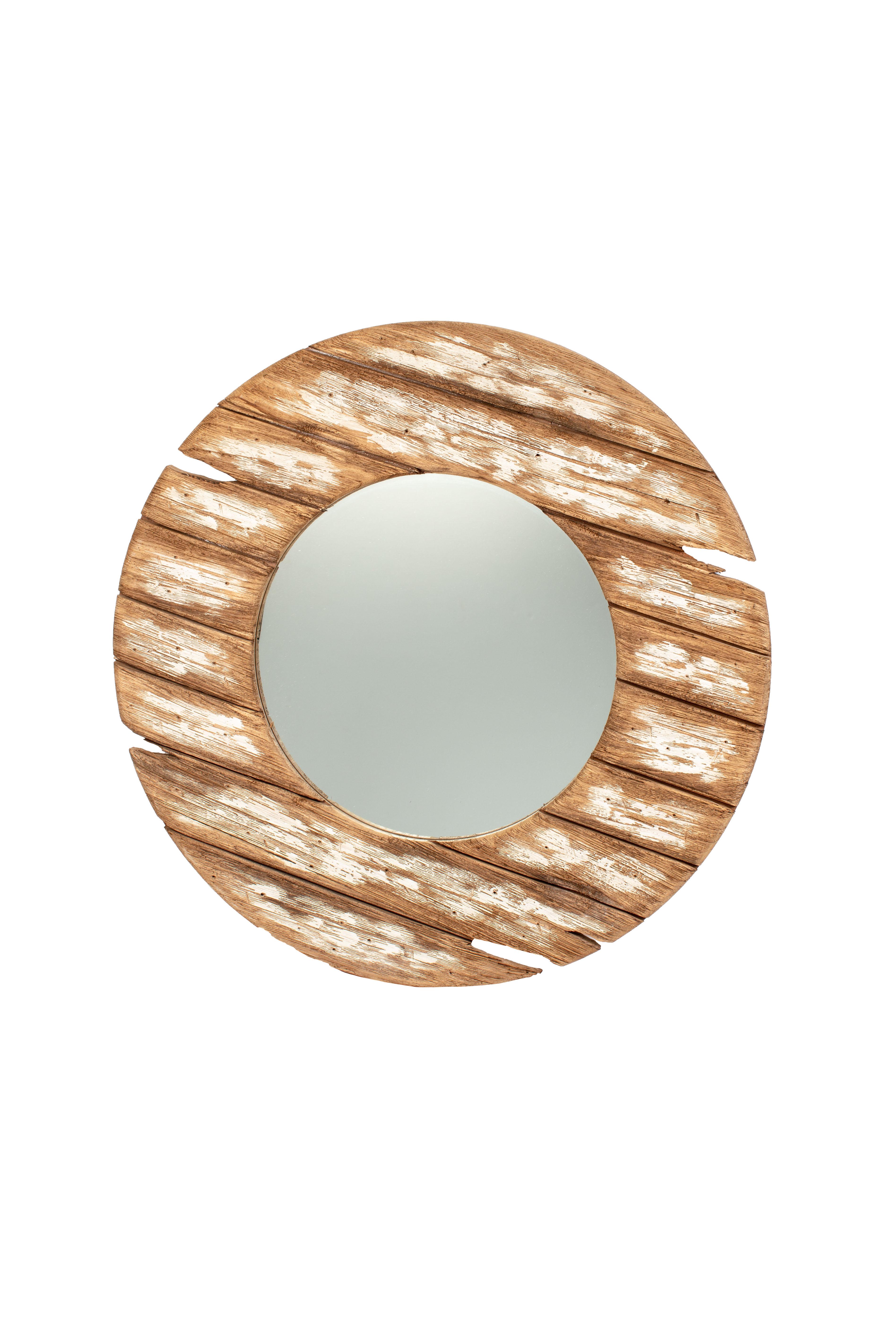 Round Plank Mirror 68cm