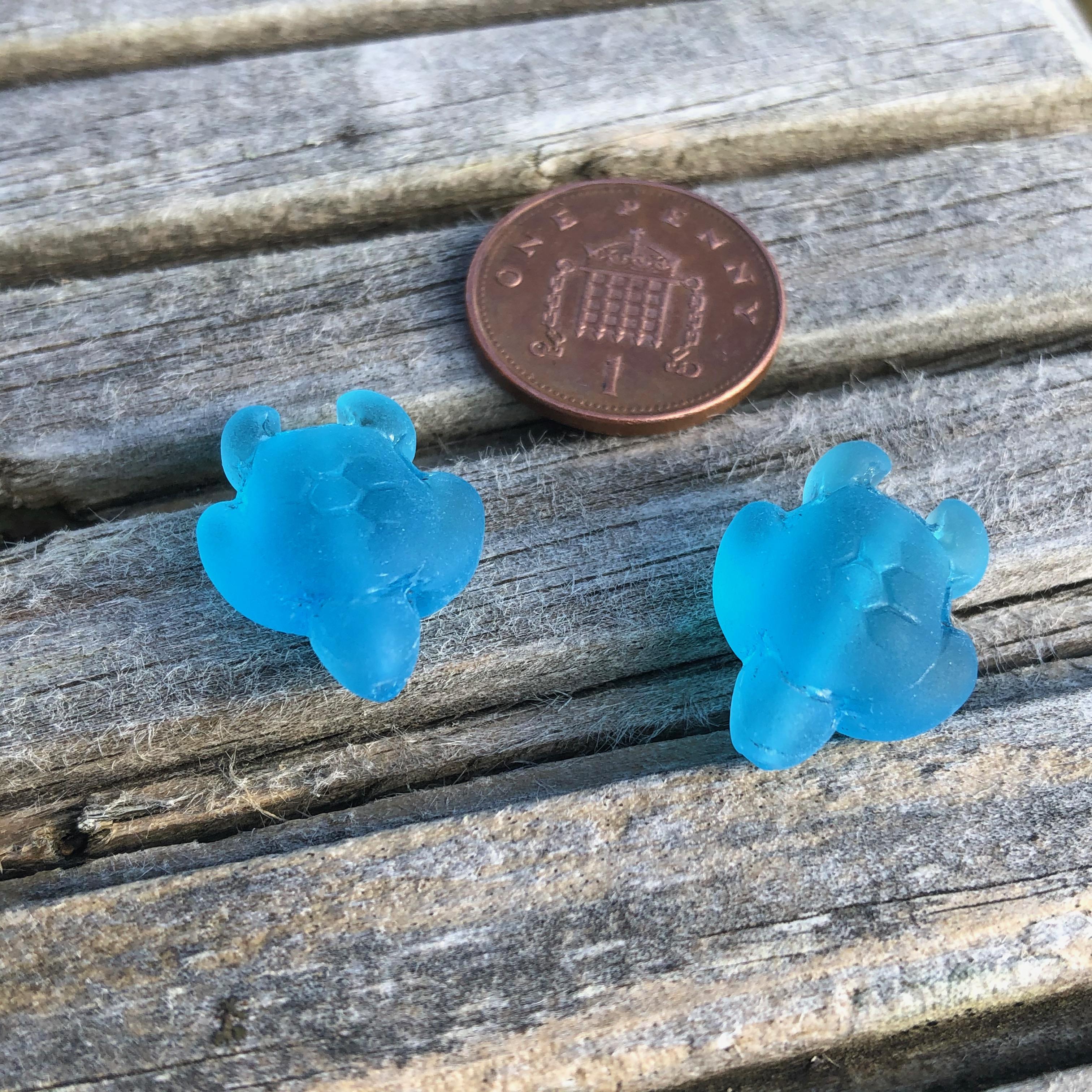 Sea Glass Turtle 20mm Pacific Blue