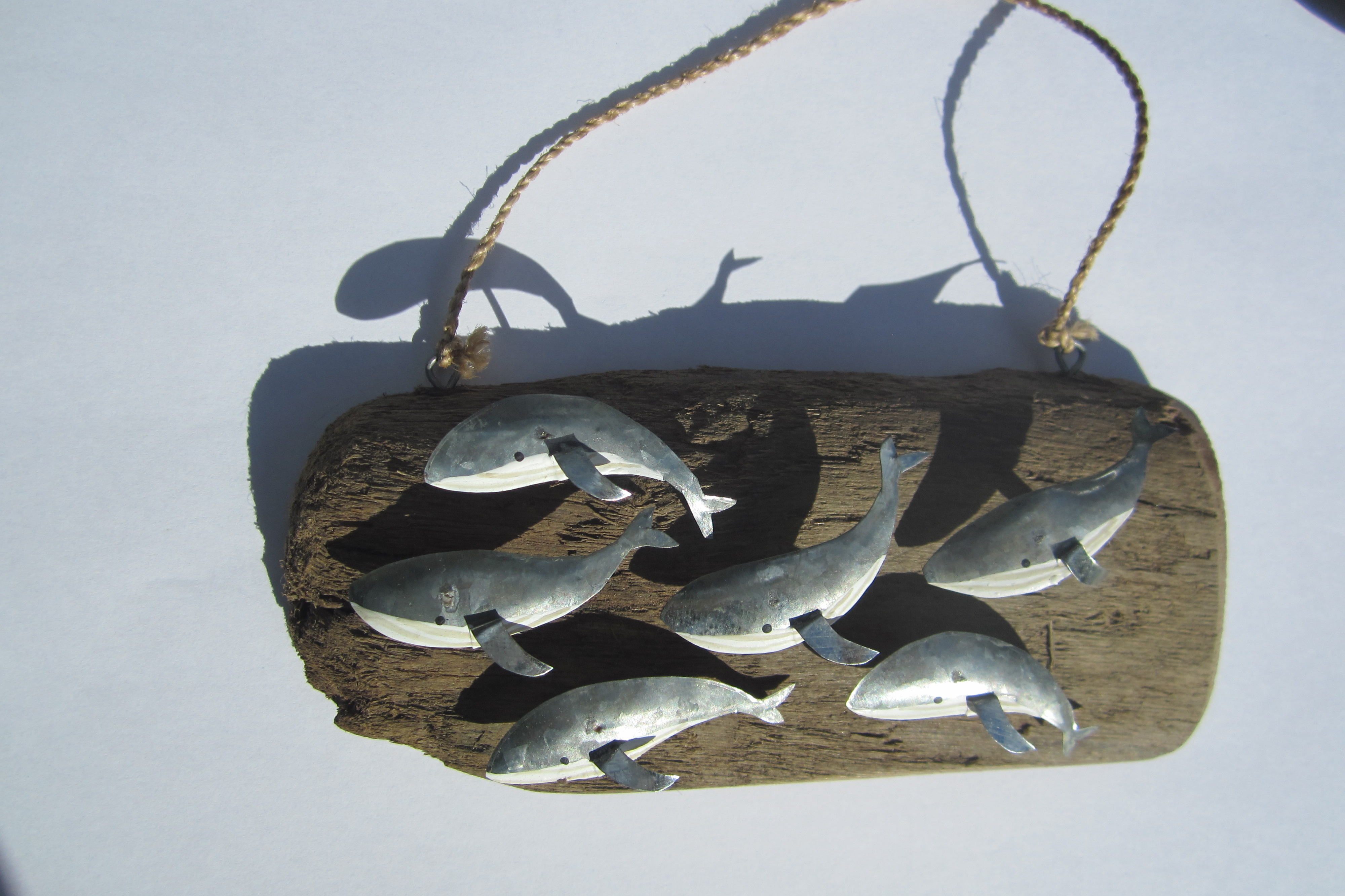 Hanging Whales on Driftwood Silver