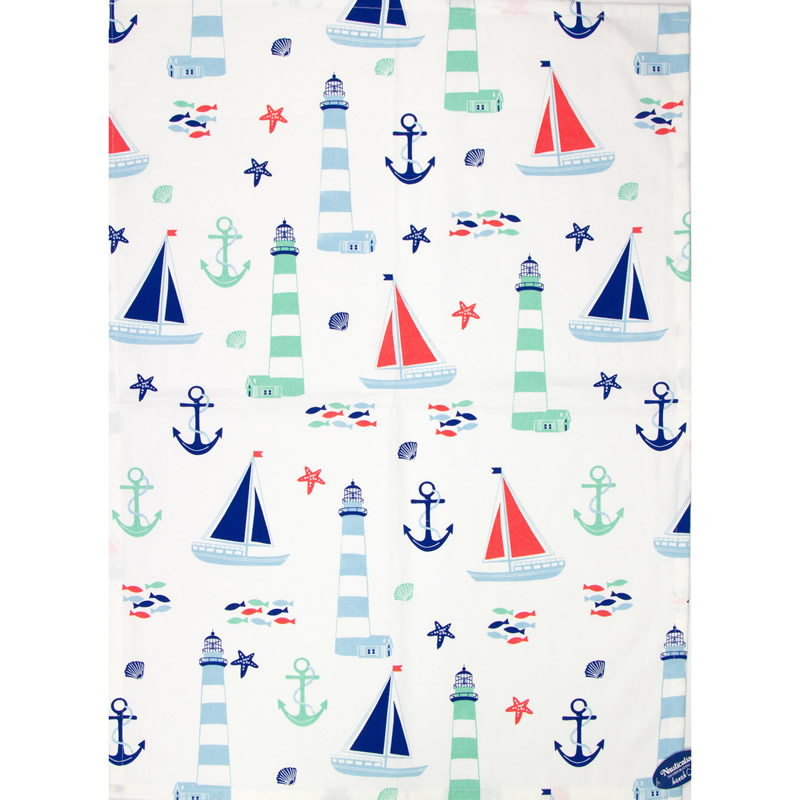 Tea Towel: Boats & Lighthouses
