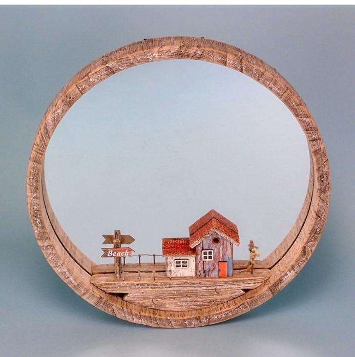 Rustic Mirror With Beach Hut 35cm