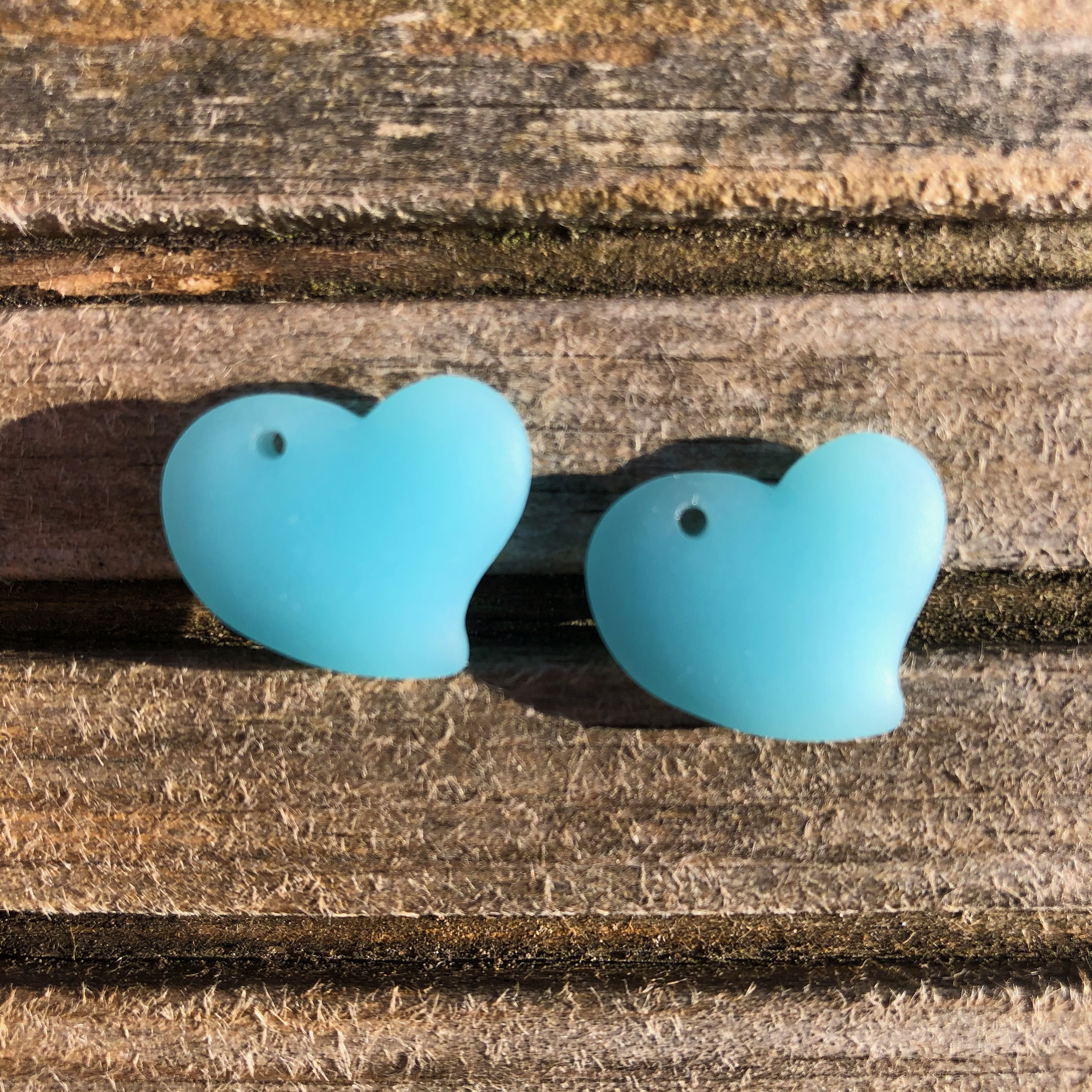 Sea Glass Heart - Light Opaque Turquoise Bay