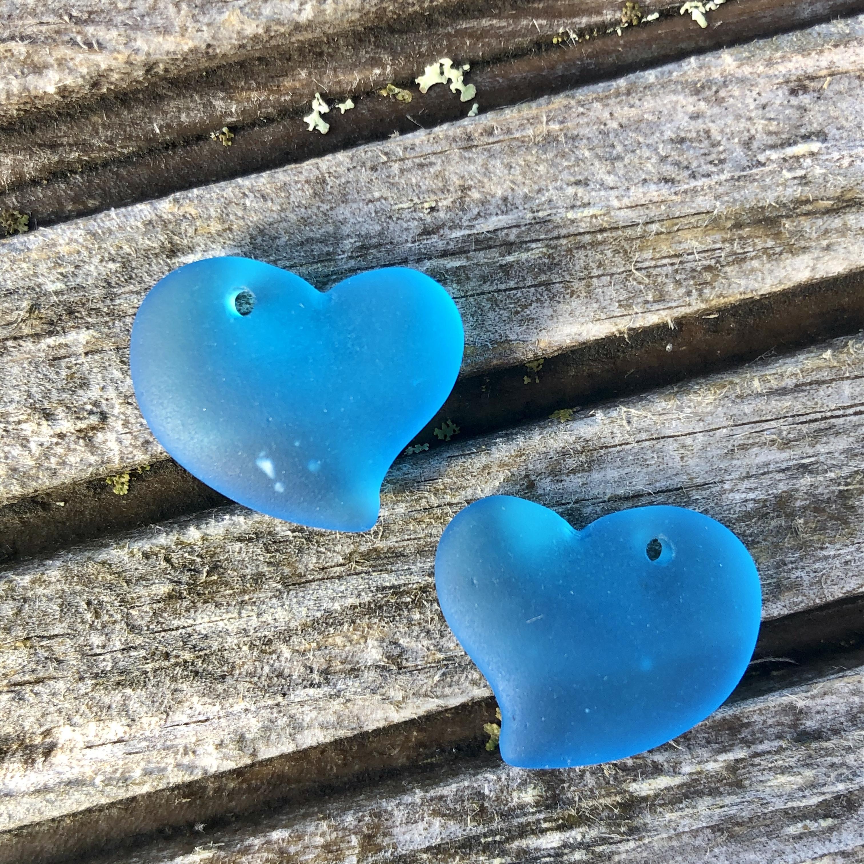 Sea Glass Heart - Pacific Blue