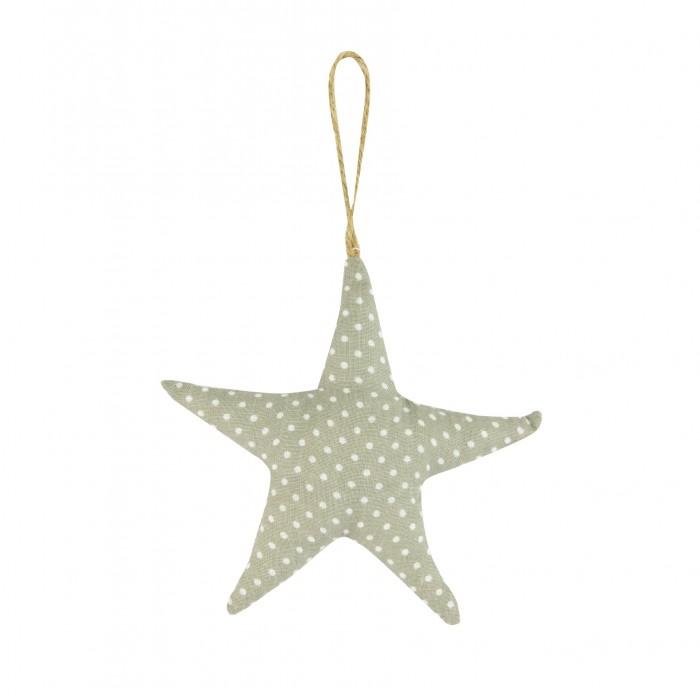 Fabric Dotty Starfish Hanger 11cm Grey