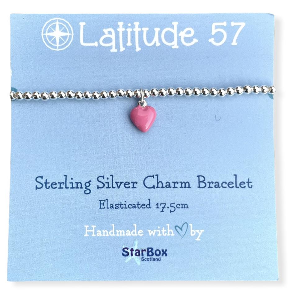 Sterling Silver Charm Bracelet: Heart Pink OFFER (£19.95)
