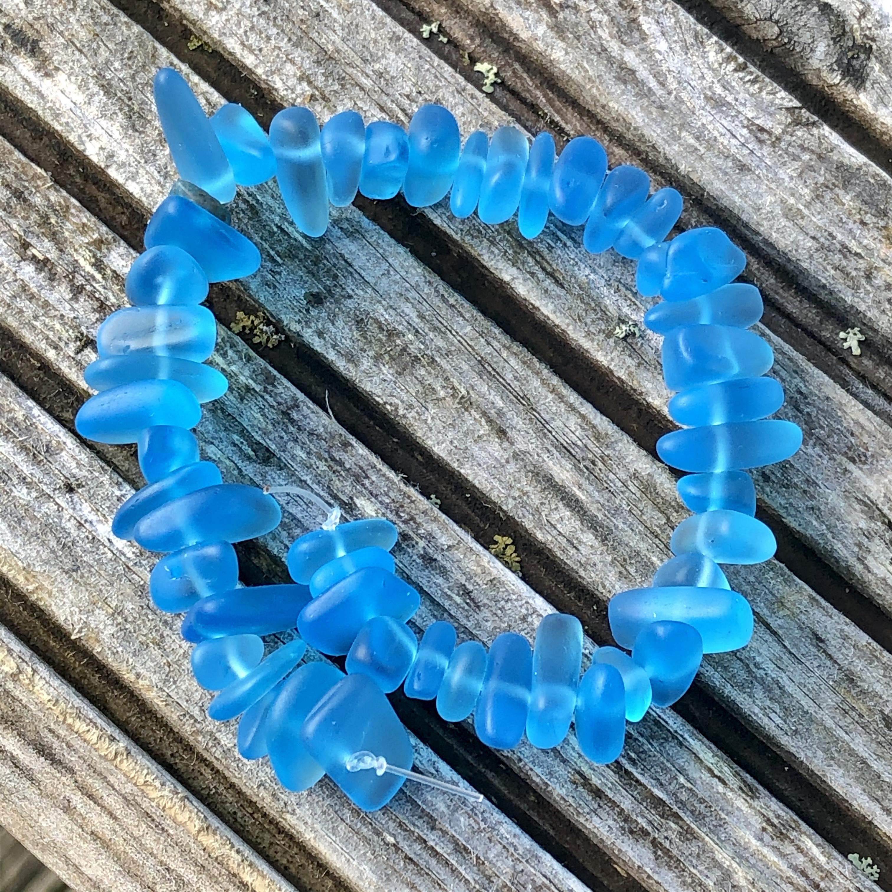 Sea Glass Pebble Beads - 12 Barbados Blue