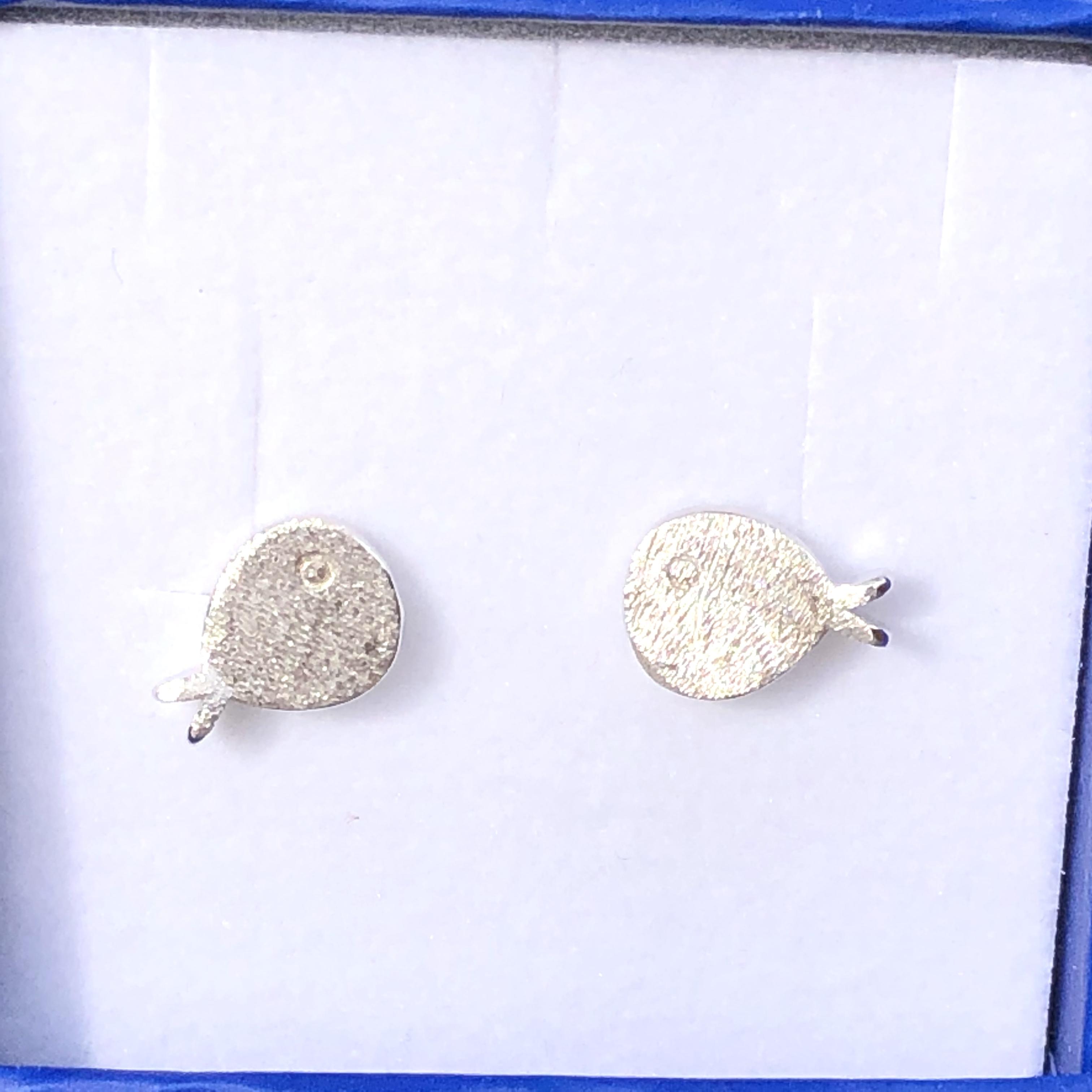 Earrings: Sterling Silver Fish Studs 10mm