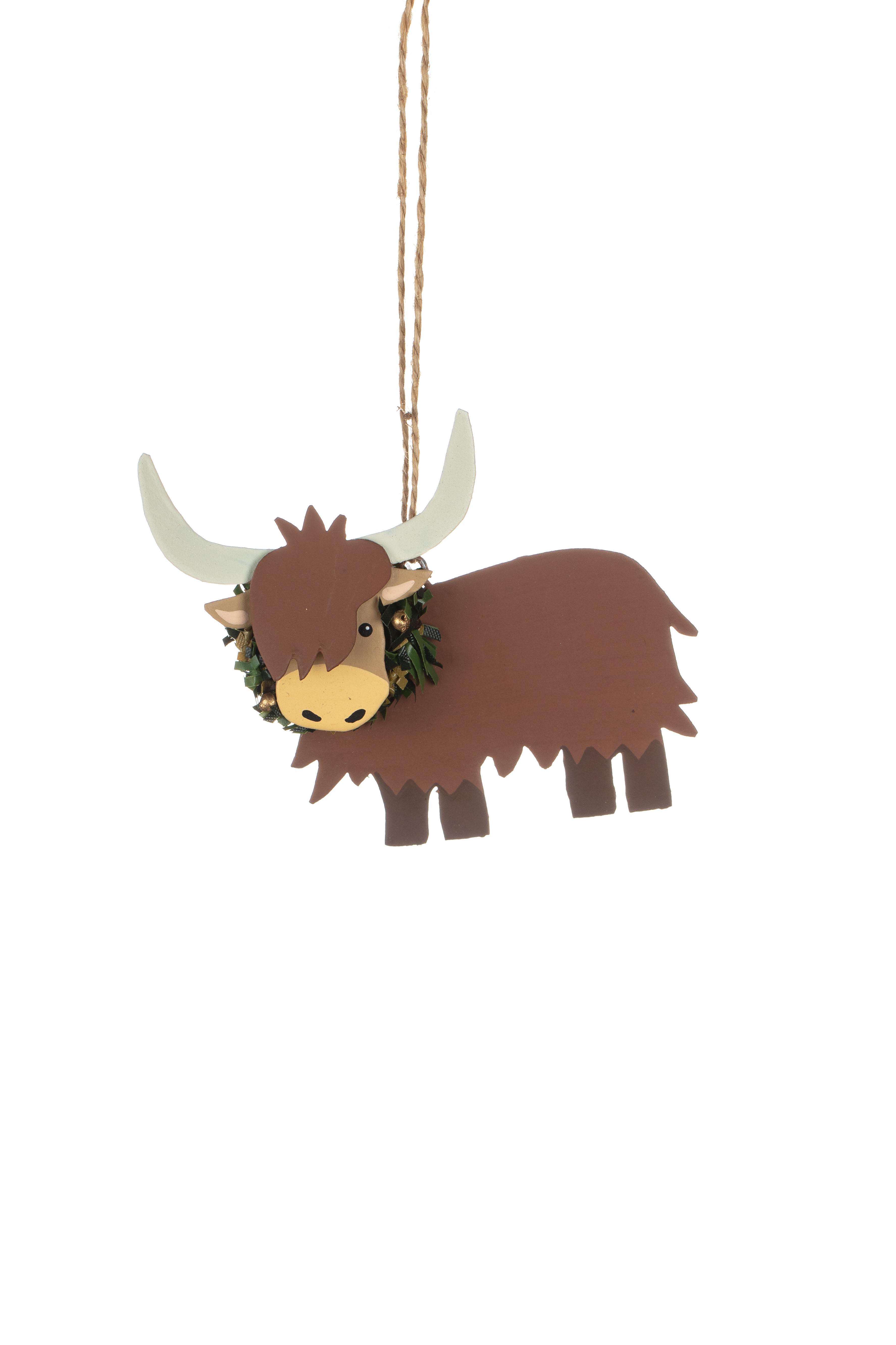 Xmas: Tin Highland Cow with Wreath