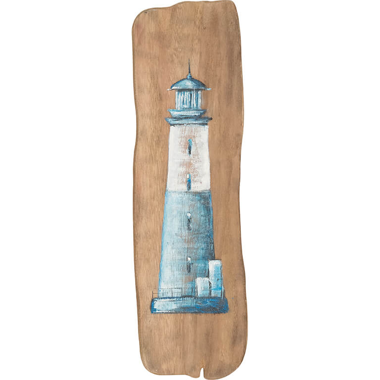 Blue Lighthouse on Wood Wall Art