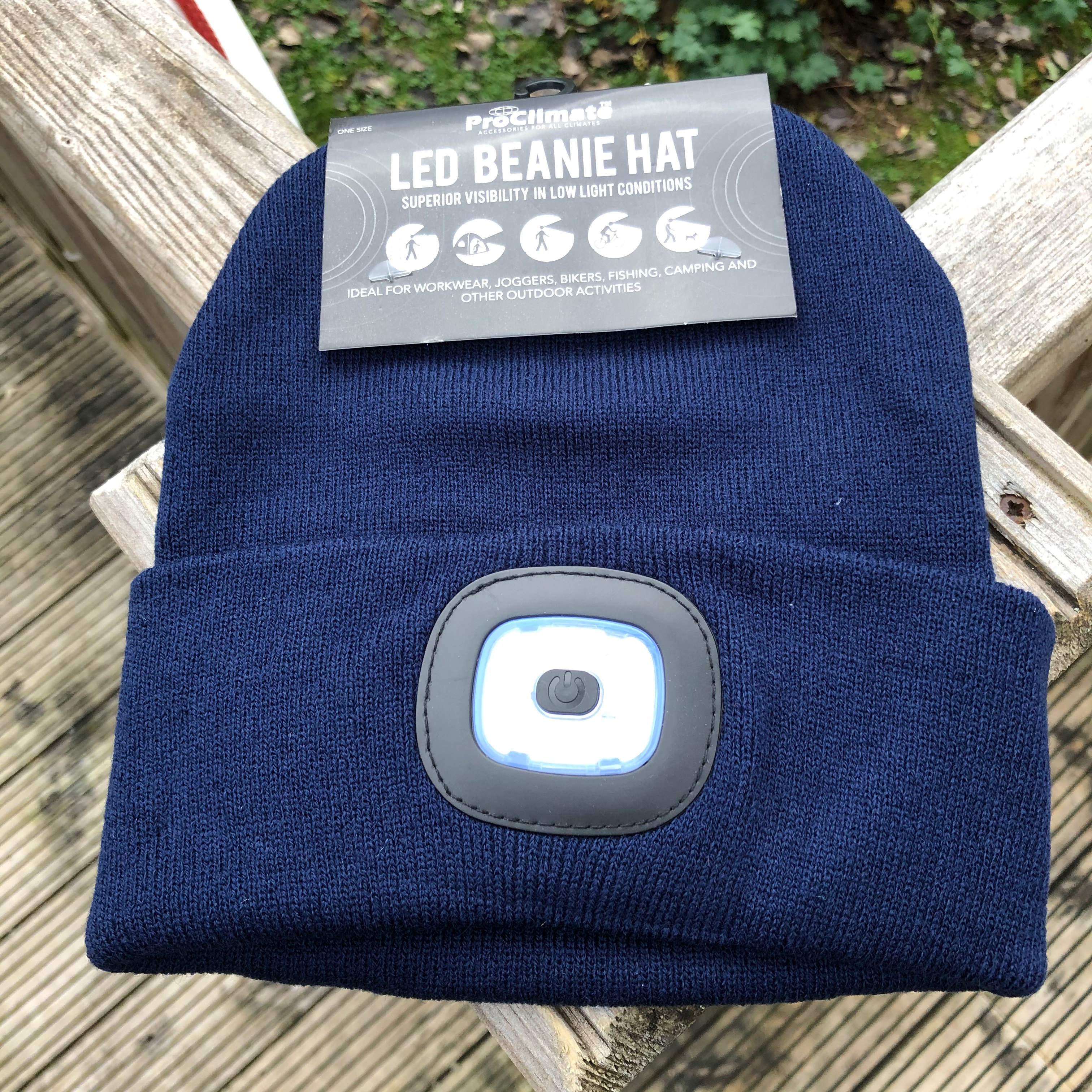 LED Beanie Hat - Navy Blue