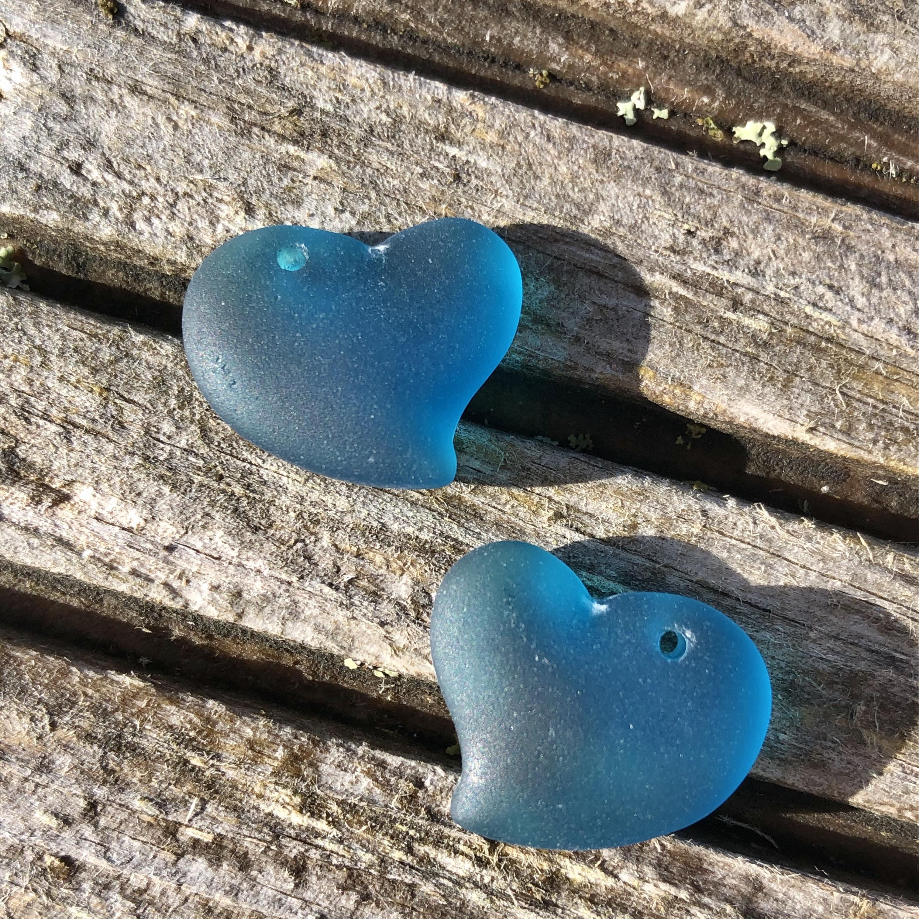 Sea Glass Heart - Teal