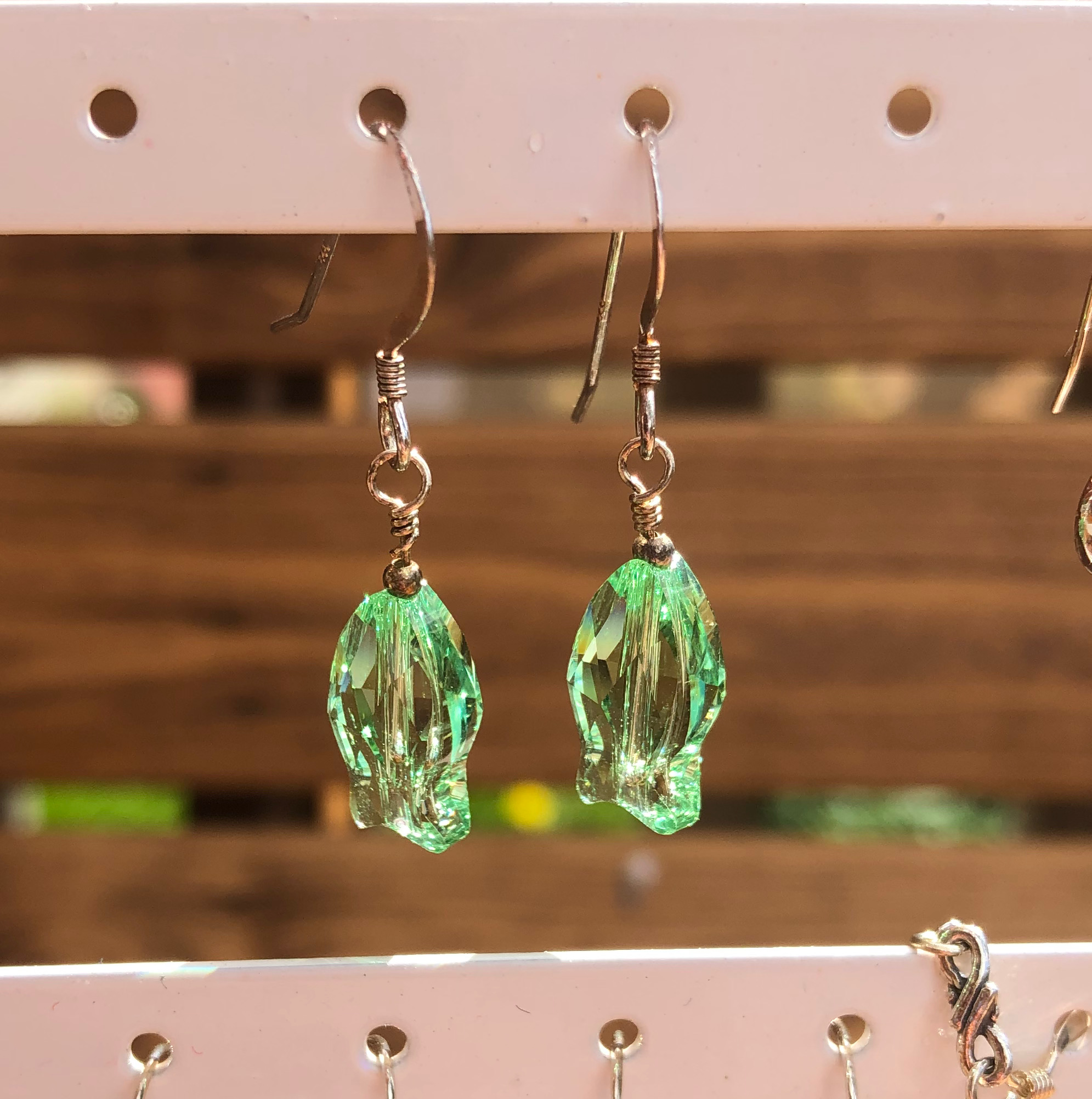 Earrings: Swarovski Fish 14mm Green