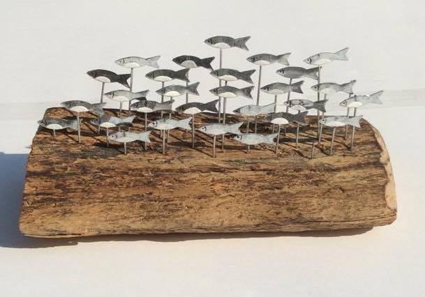 School of Sprats on Driftwood (Tin)