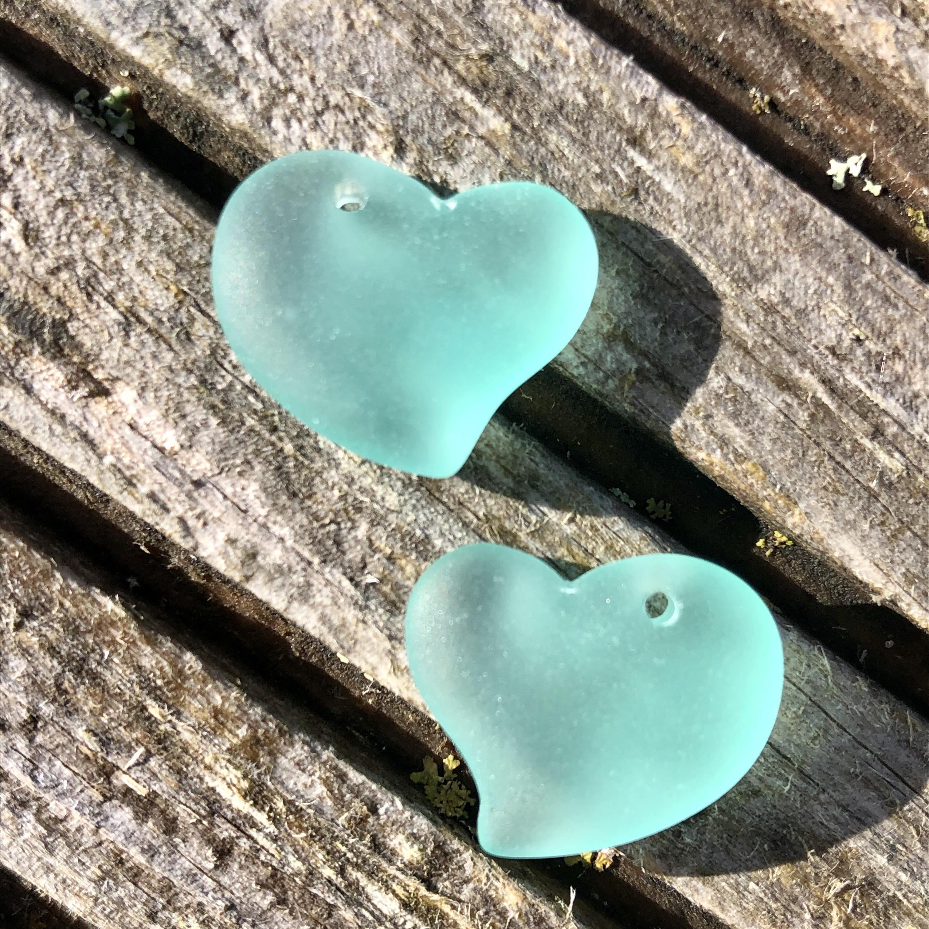 Sea Glass Heart - Autumn Green