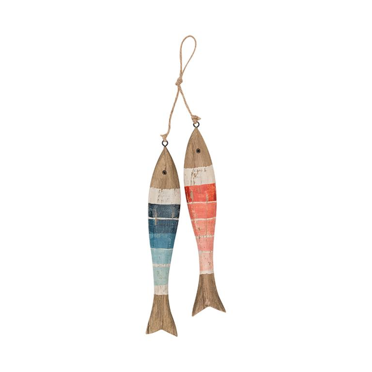String of 2 Wooden Fish