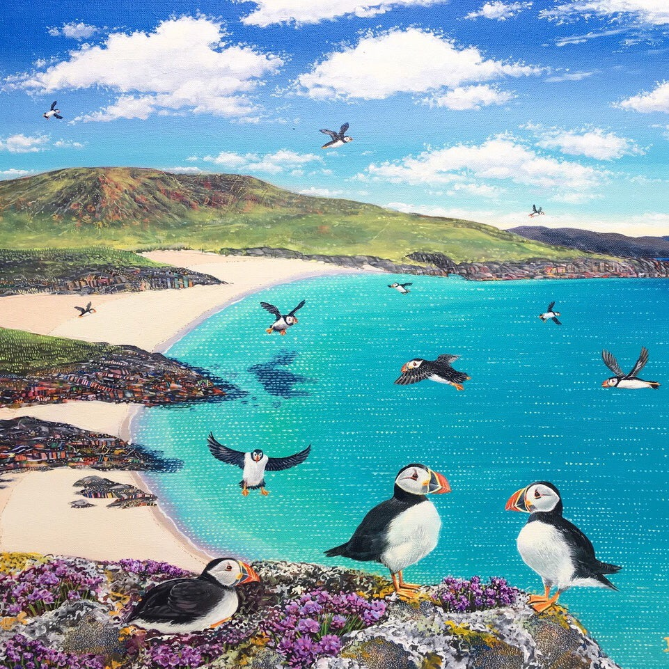 Hope Blamire Mounted Print: A Circus of Puffin, Mingulay SALE 25% (£30)