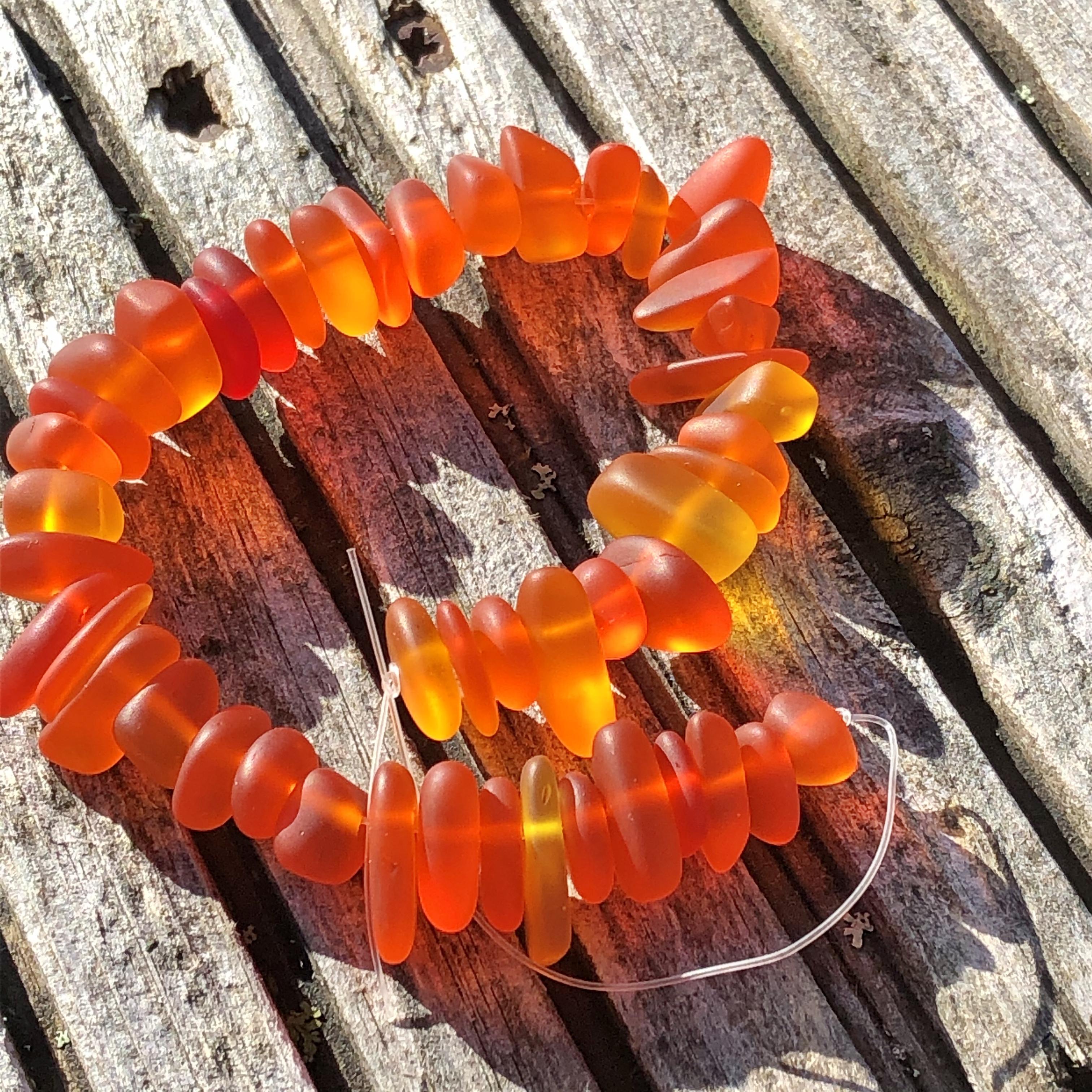 Sea Glass Pebble Beads - 22 Tangerine Orange