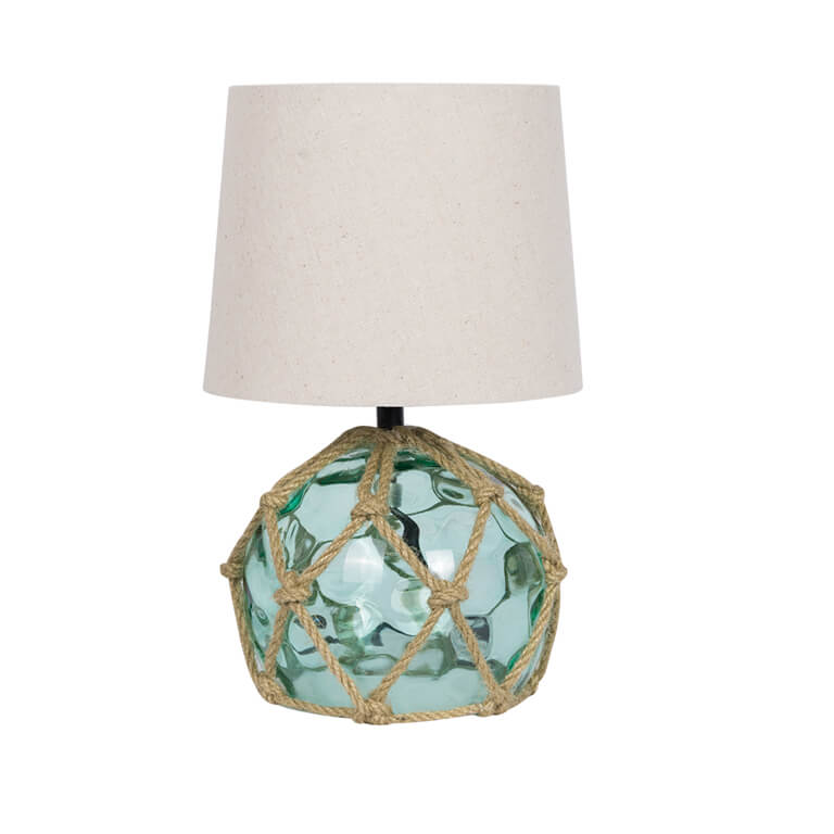 Glass Buoy Bedside Lamp Green