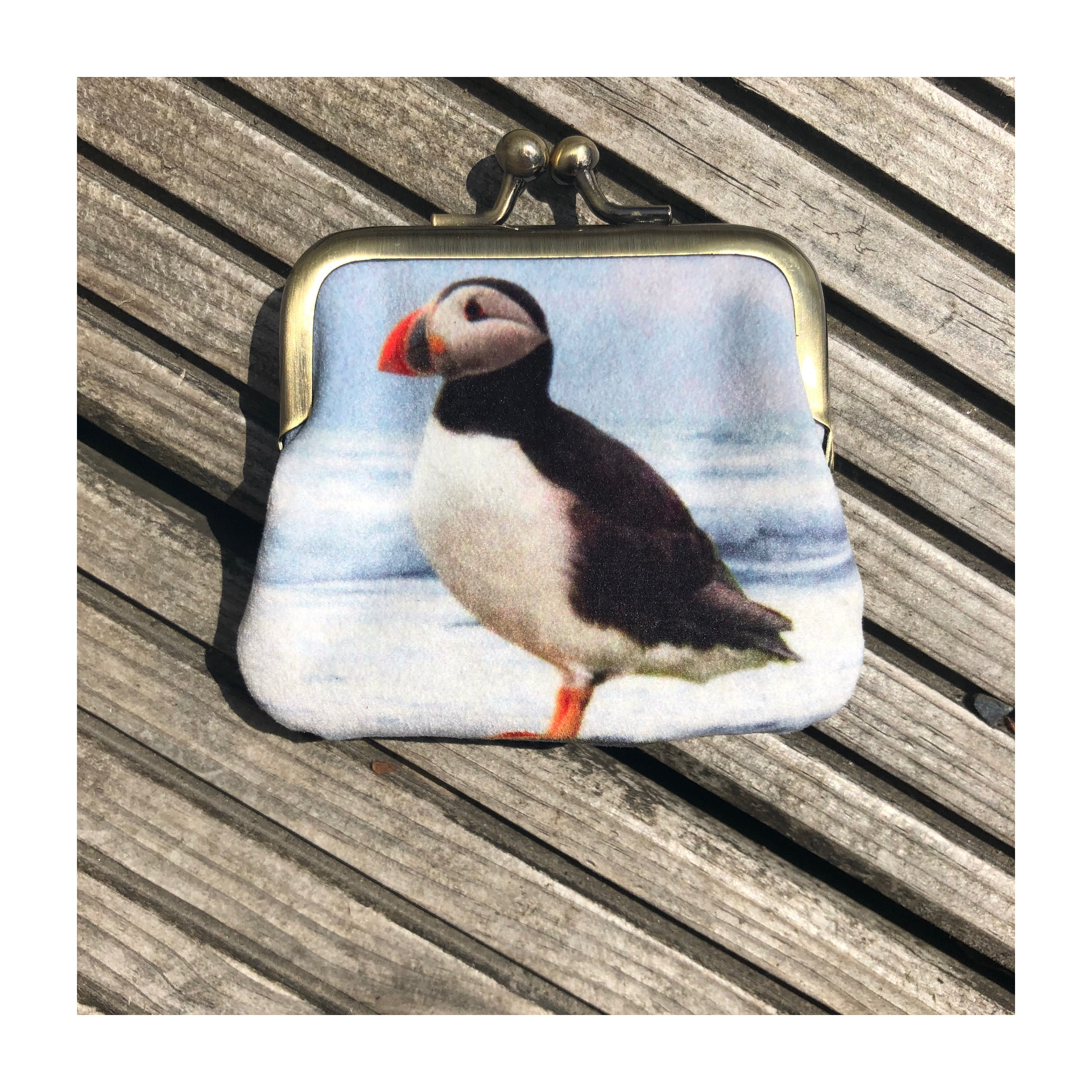 Red Ruby Rose Velvet Coin Purse: Puffin