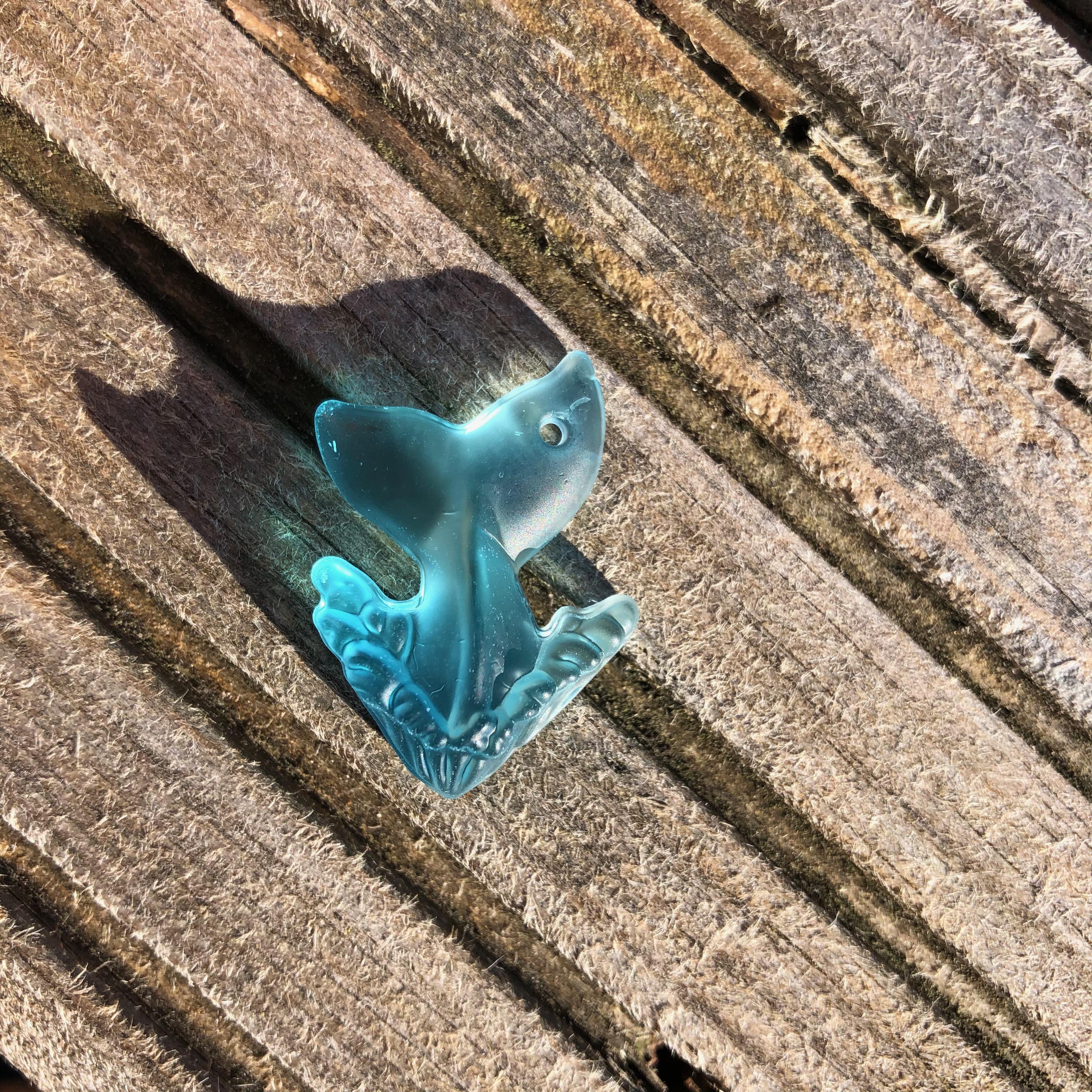 Sea Glass Whale Tail Pendant - Pacific Blue