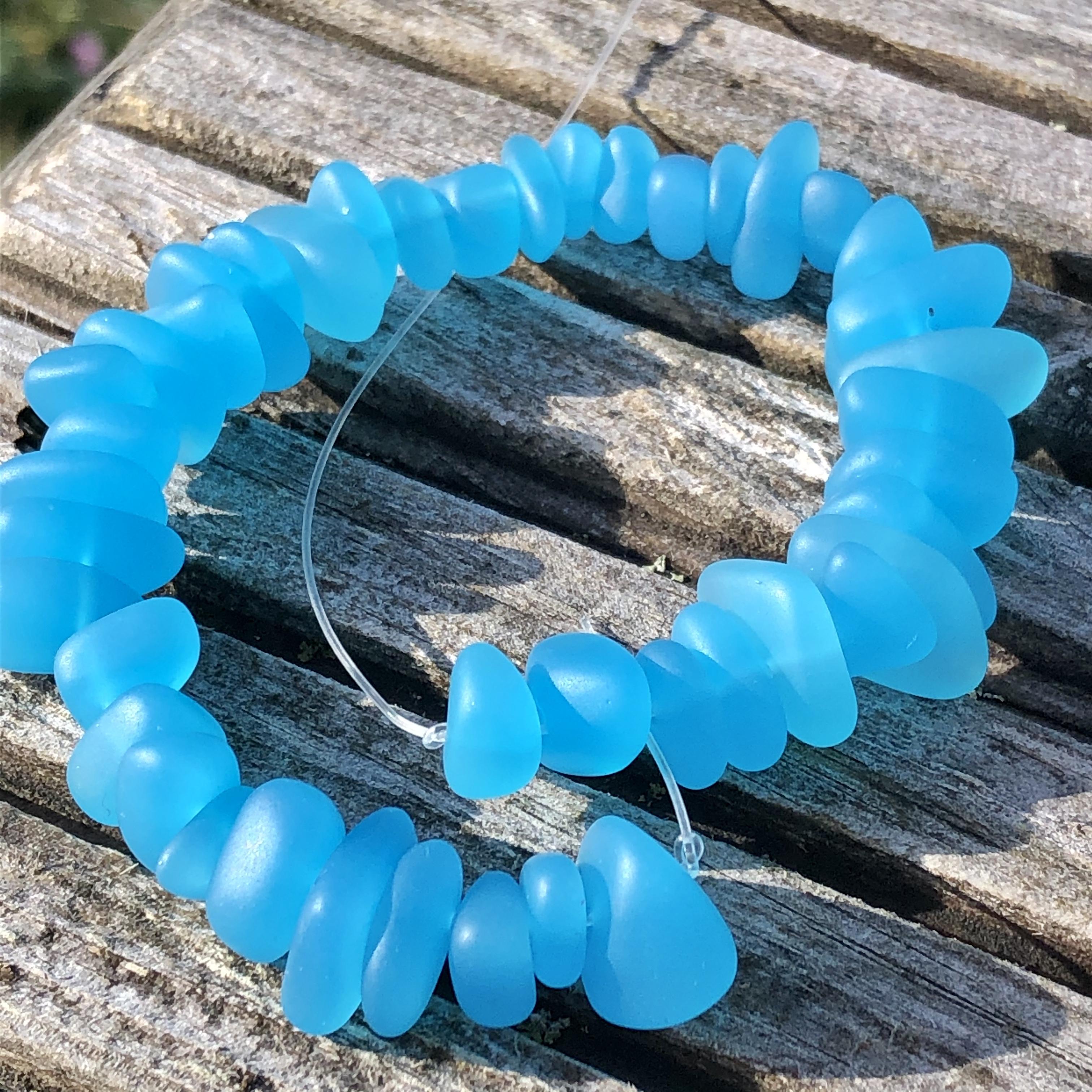 Sea Glass Pebble Beads - 11c Turquoise Bay