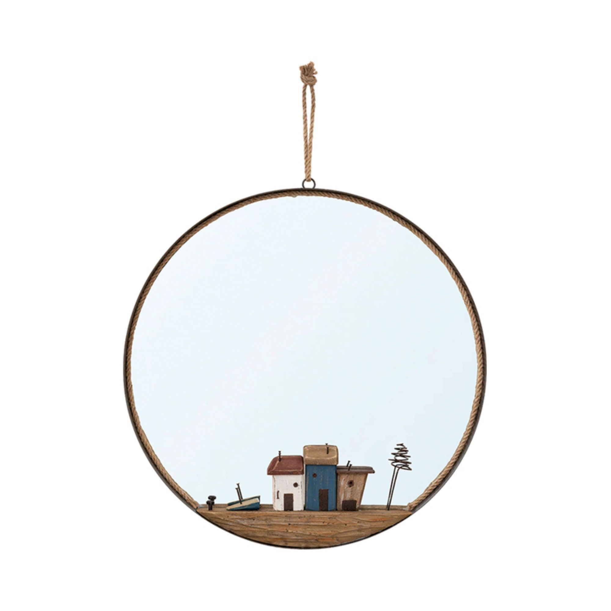 Round Mirror with Little Houses 47cm