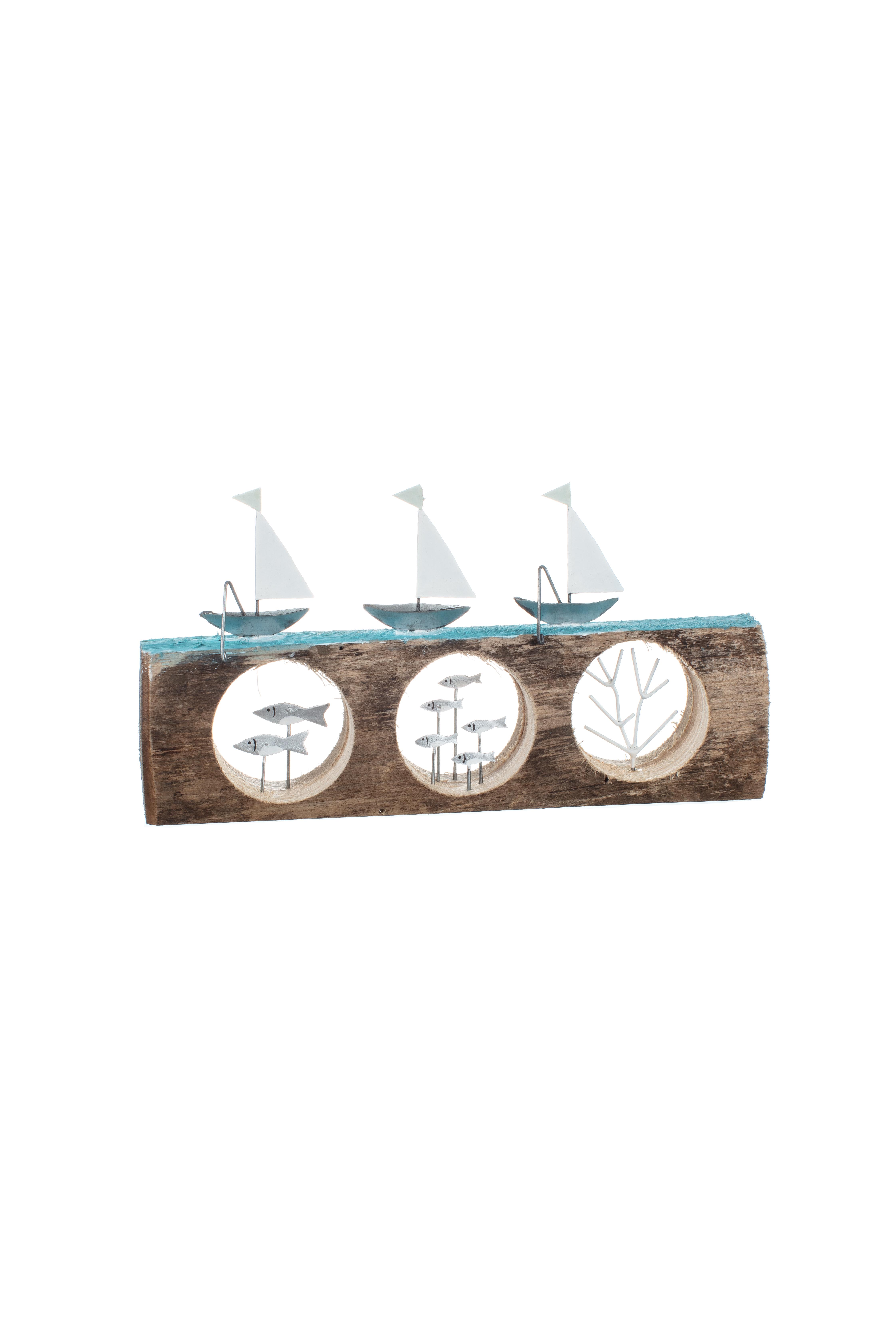 Three Yachts on Driftwood Portholes