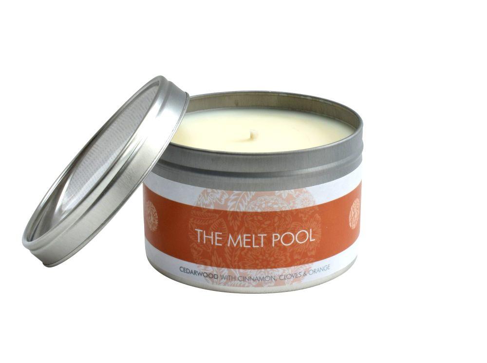 The Melt Pool Large Tin: Cedarwood w/Cinnamon, Clove & Orange