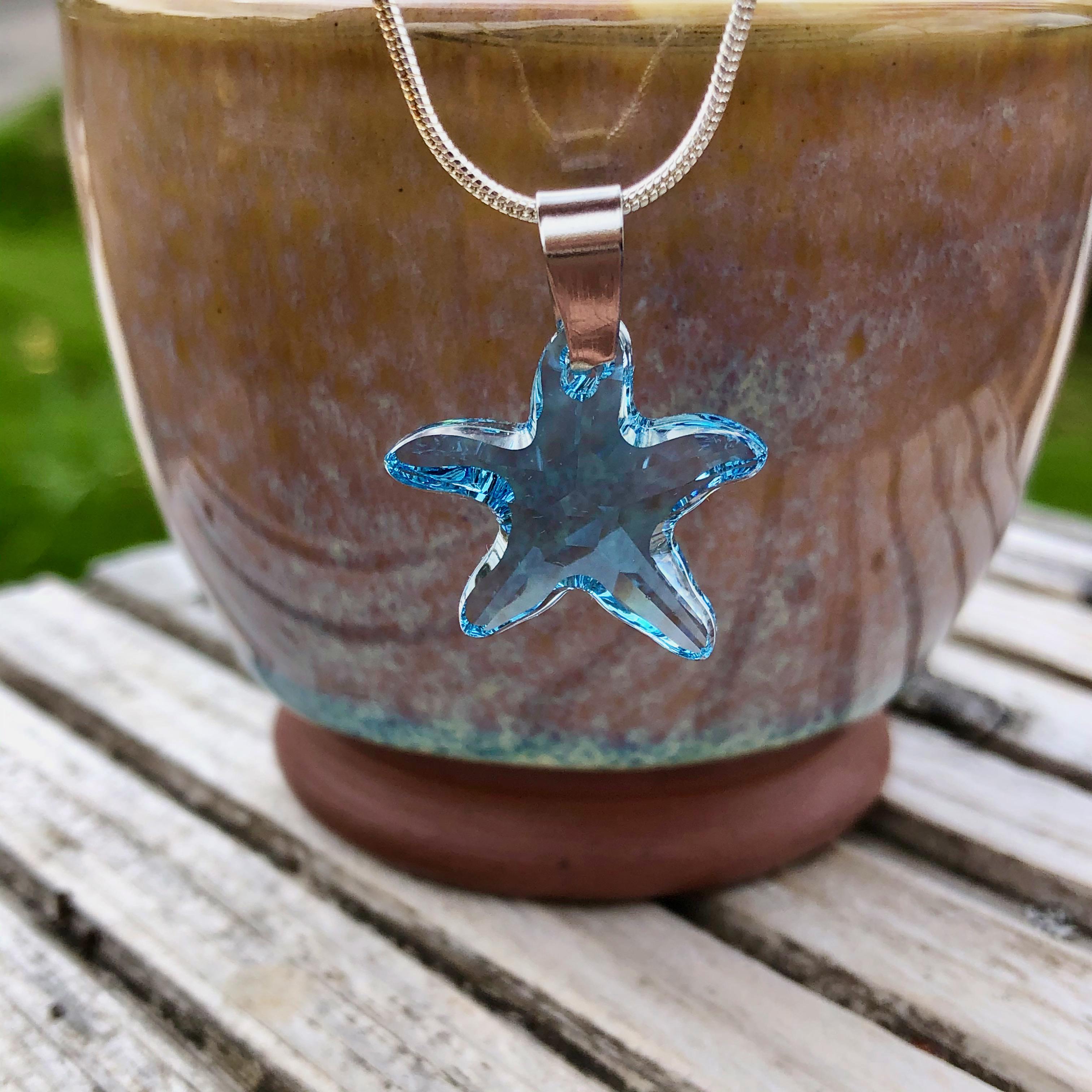Necklace: Swarovski Starfish 20mm Blue SALE 10% (£16)