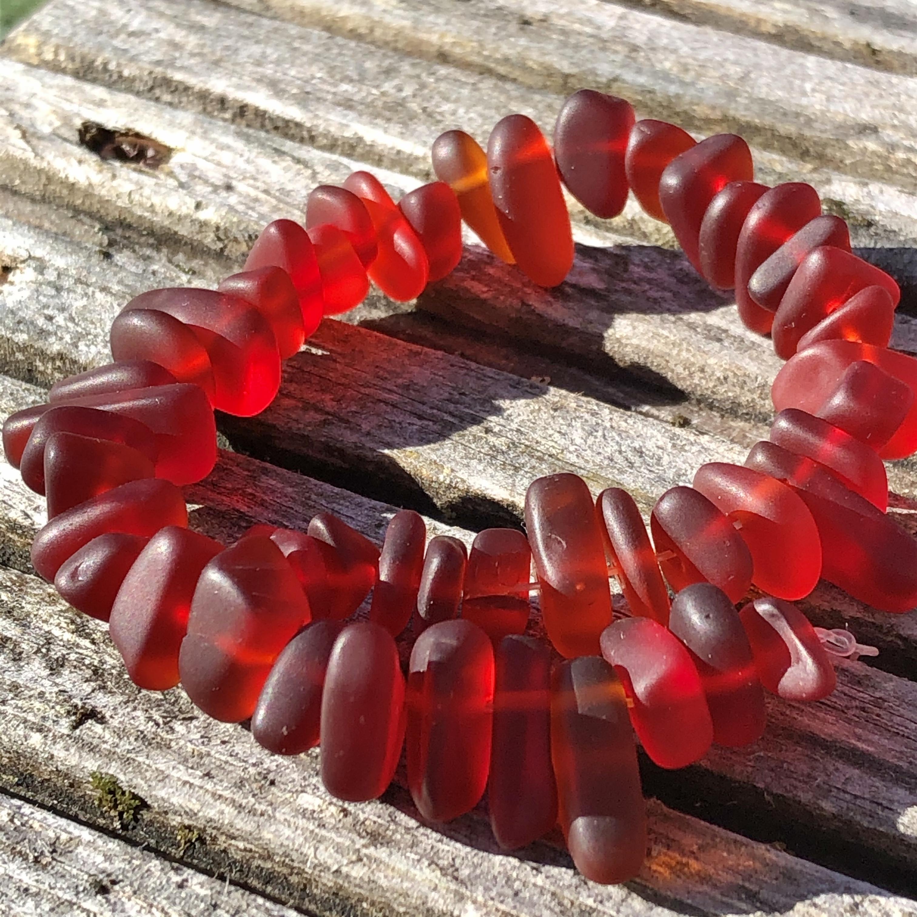Sea Glass Pebble Beads - 21 Cherry Red