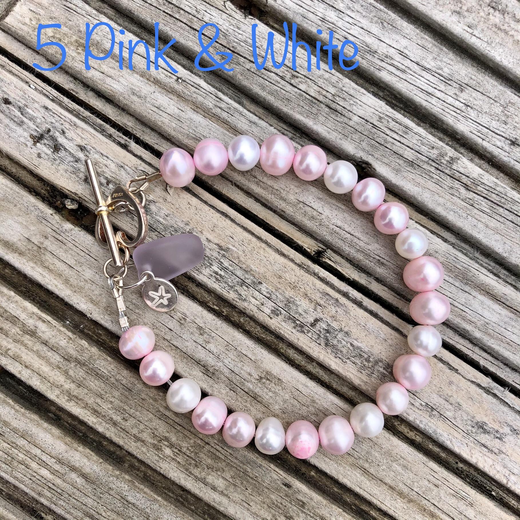 Freshwater Pearl Bracelet 5: Pink & White SALE (£32)