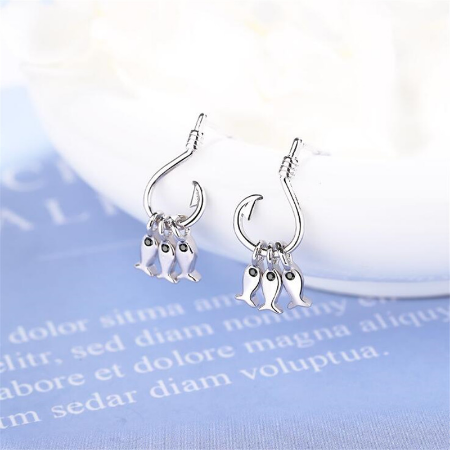 Sterling Silver Fish Hook Stud Earrings