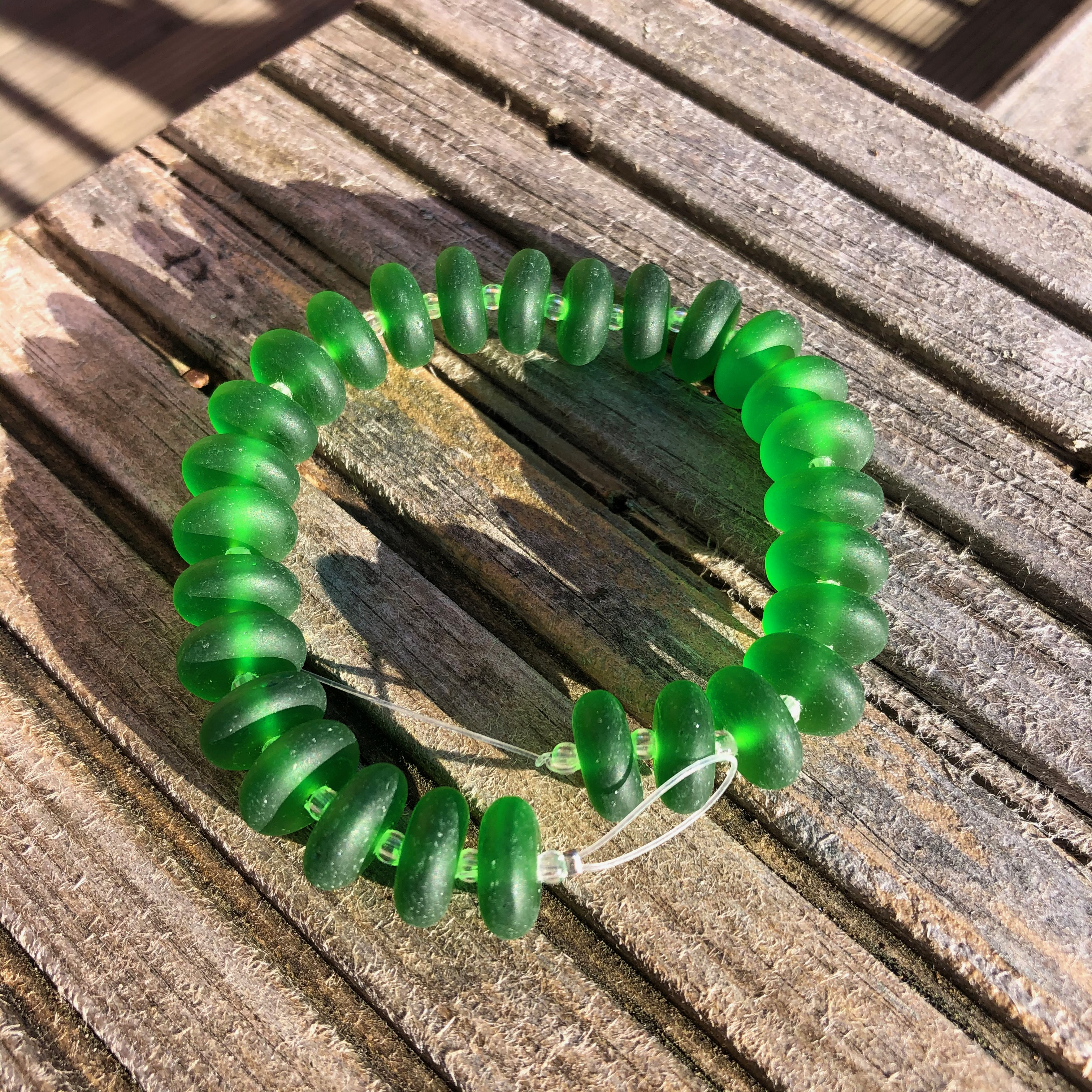 Sea Glass Rondelles - 08 Shamrock Green