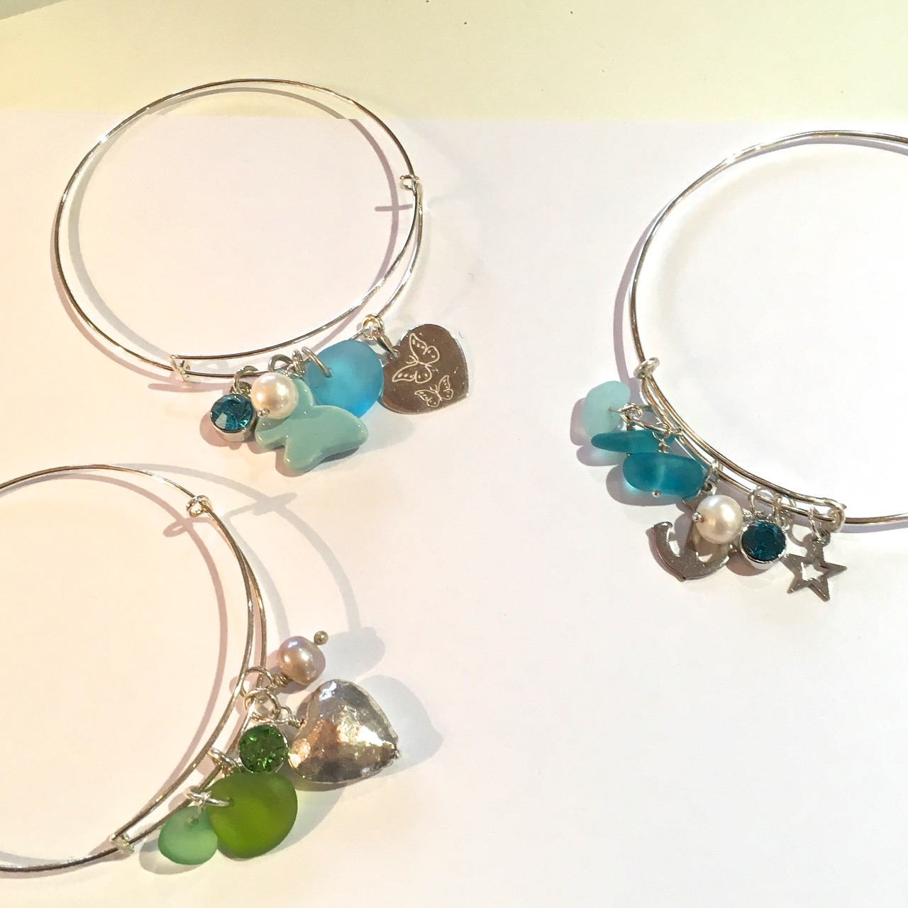 Sea Glass Adjustable Bangle SALE 30% (£28)