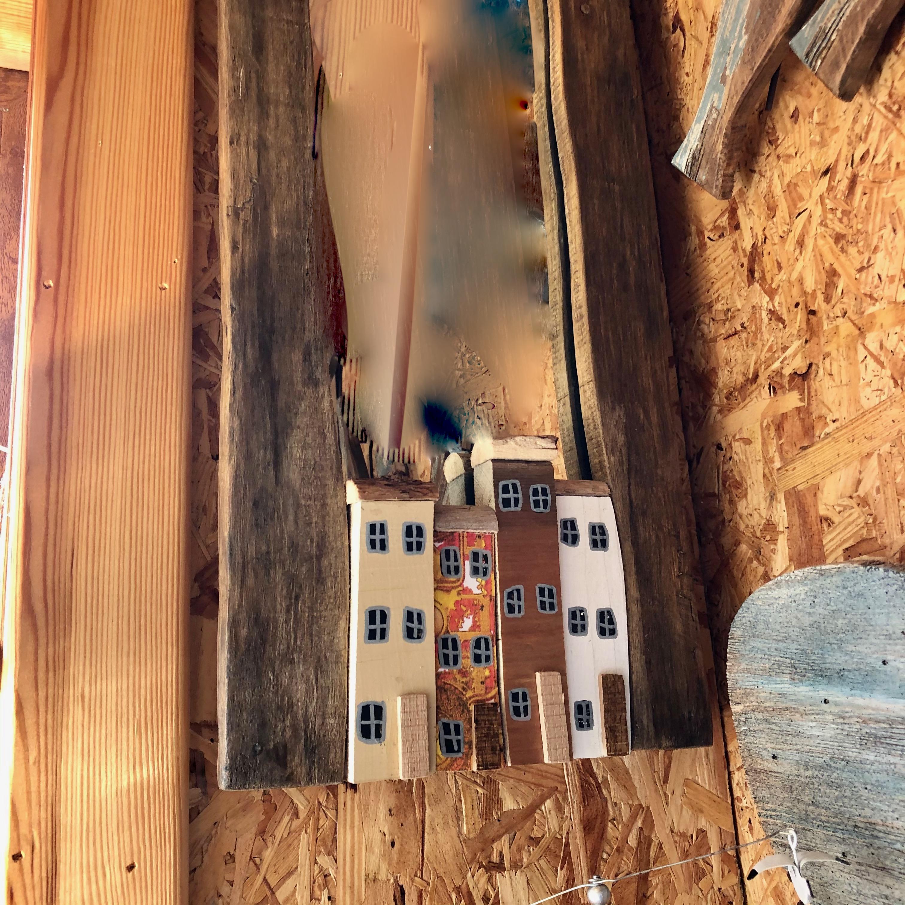 Handmade Driftwood Houses Mirror