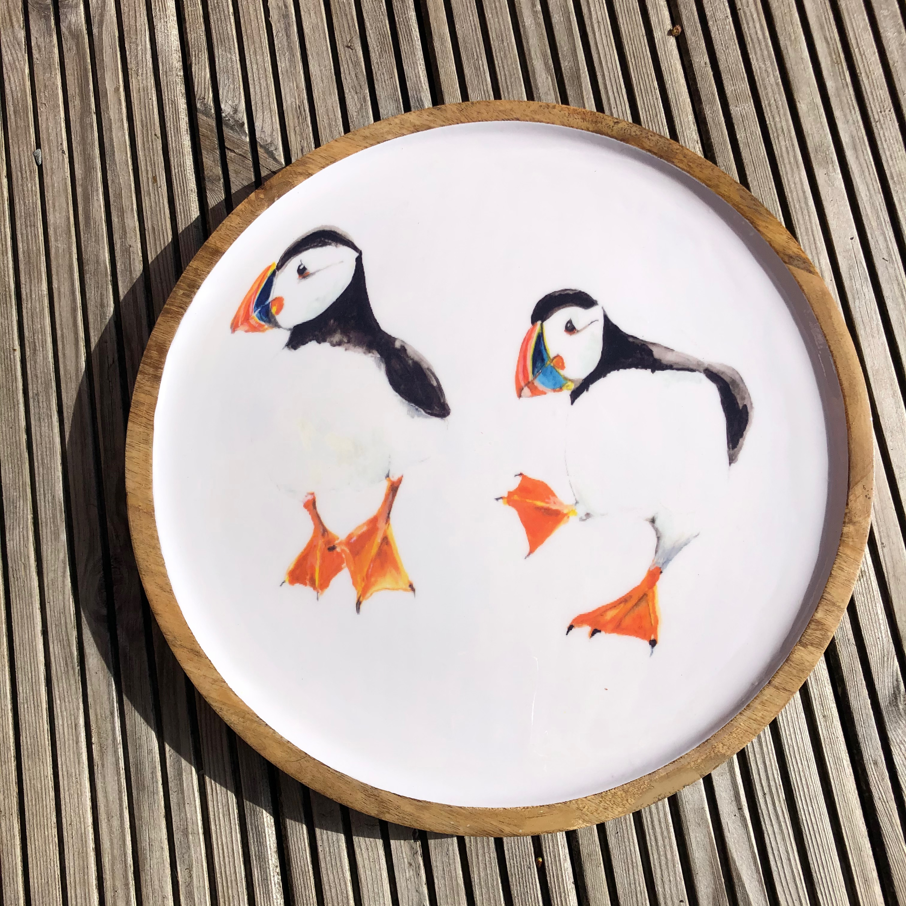 Wooden Tray: Puffin 39cm