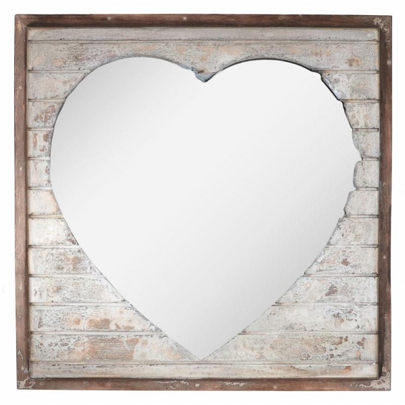 Mirror: Wooden Heart 38.5cm