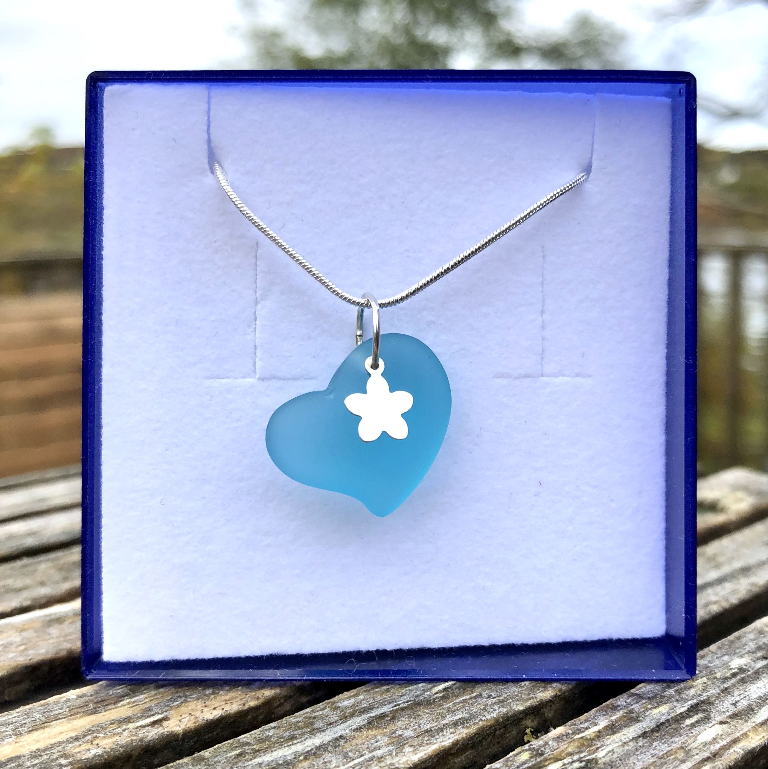 Sea Glass Heart with Charm