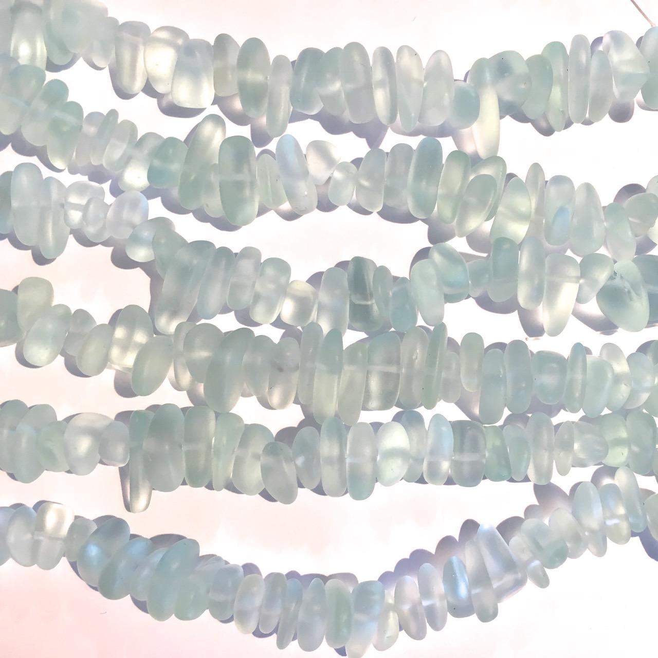 Sea Glass Pebble Beads - 02 Seafoam 'Coke Bottle'