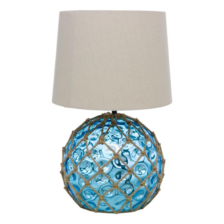 Glass Buoy Table Lamp Blue