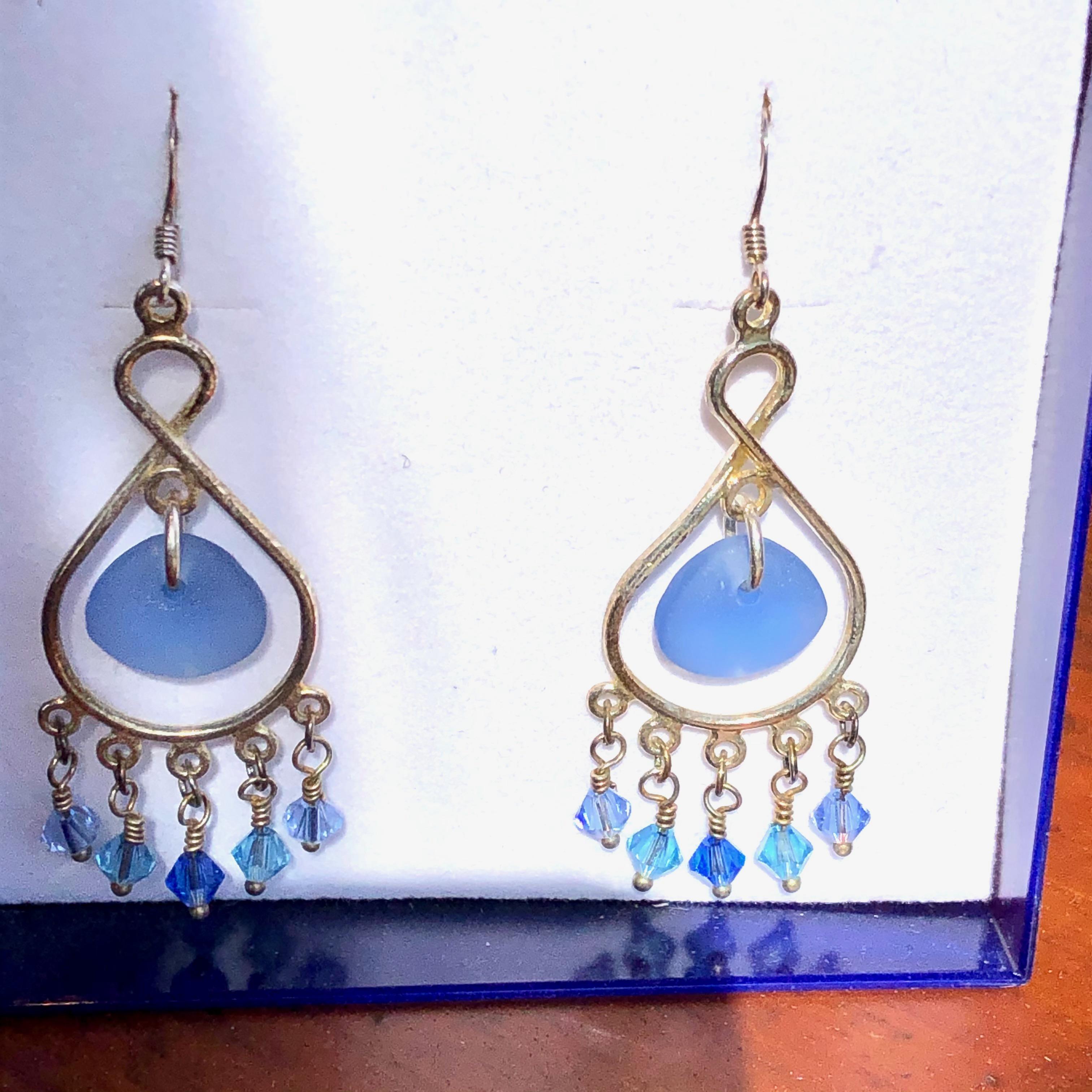 Earrings: Sea Glass Dreamcatcher