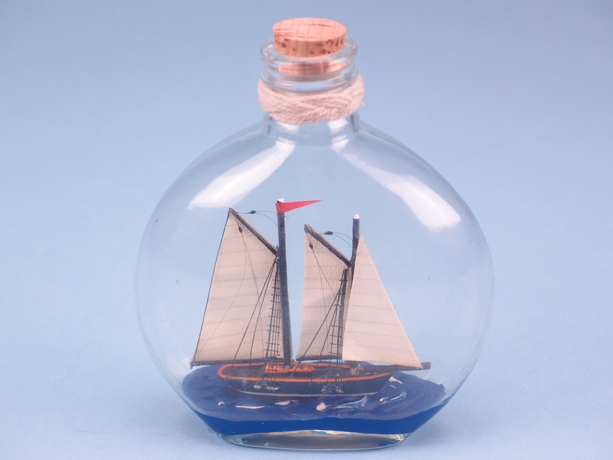Ship in Round Upright Bottle 14cm
