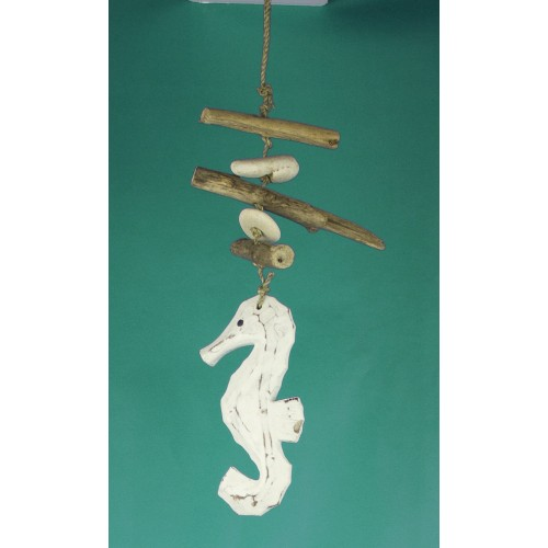 Seahorse & Driftwood Hanger White