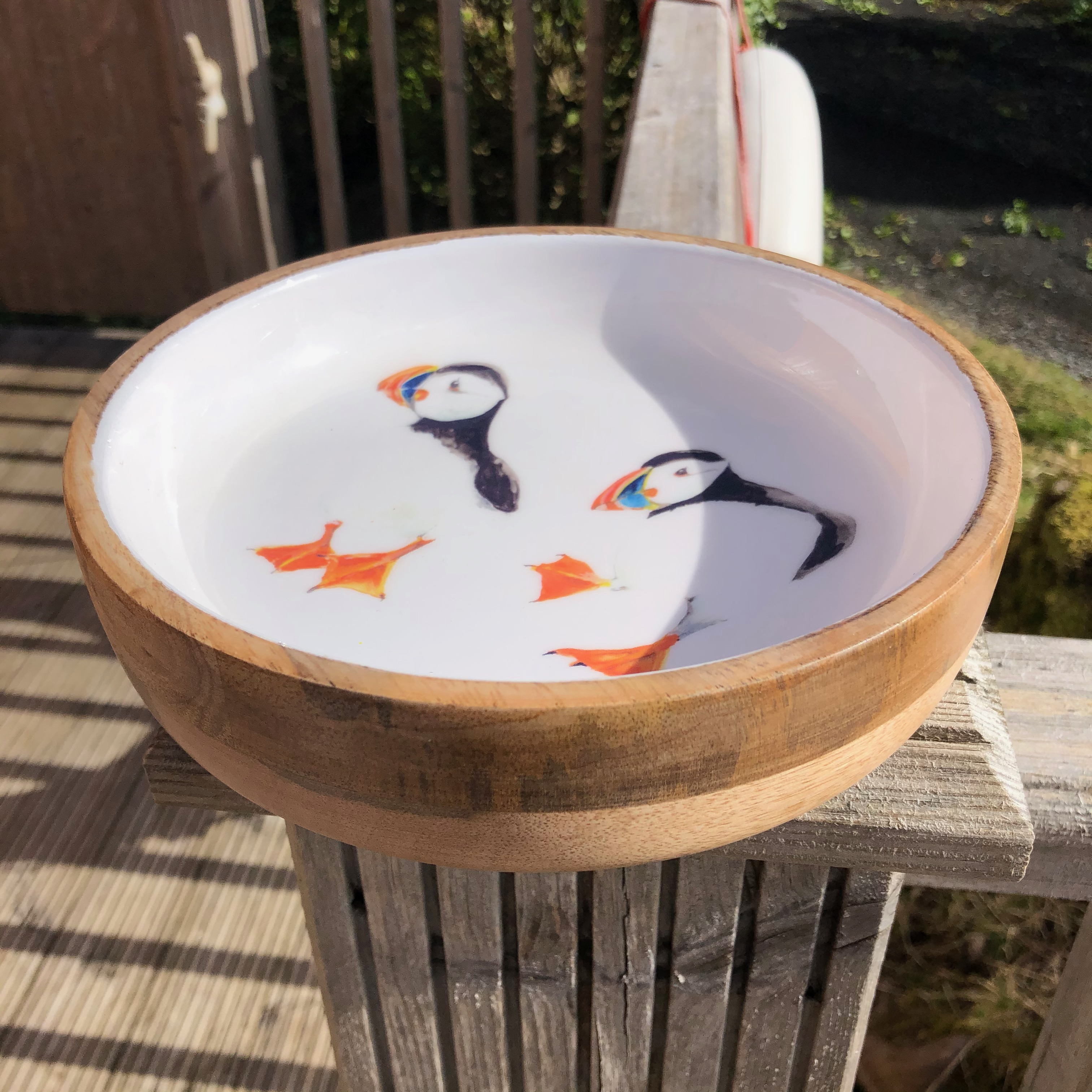 Wooden Shallow Bowl: Puffin